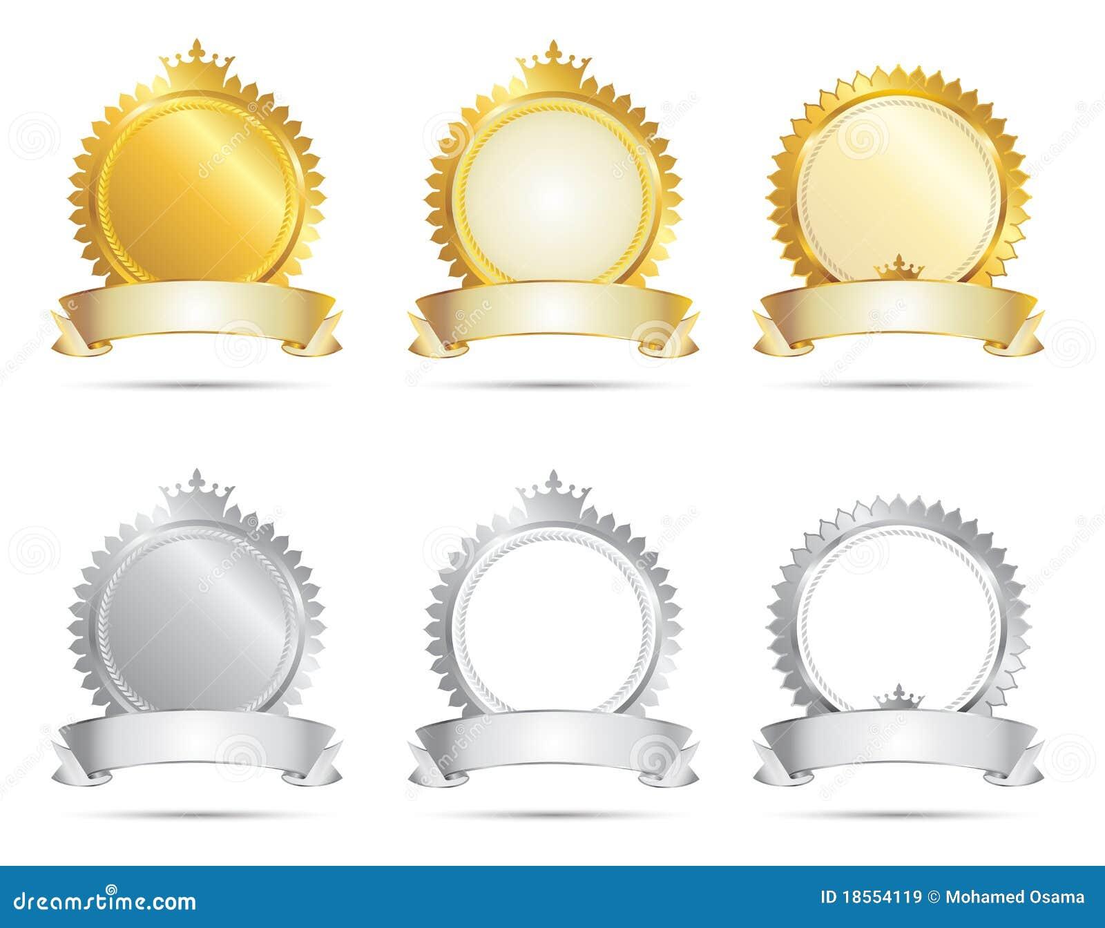 Un conjunto del sello del oro y de la plata