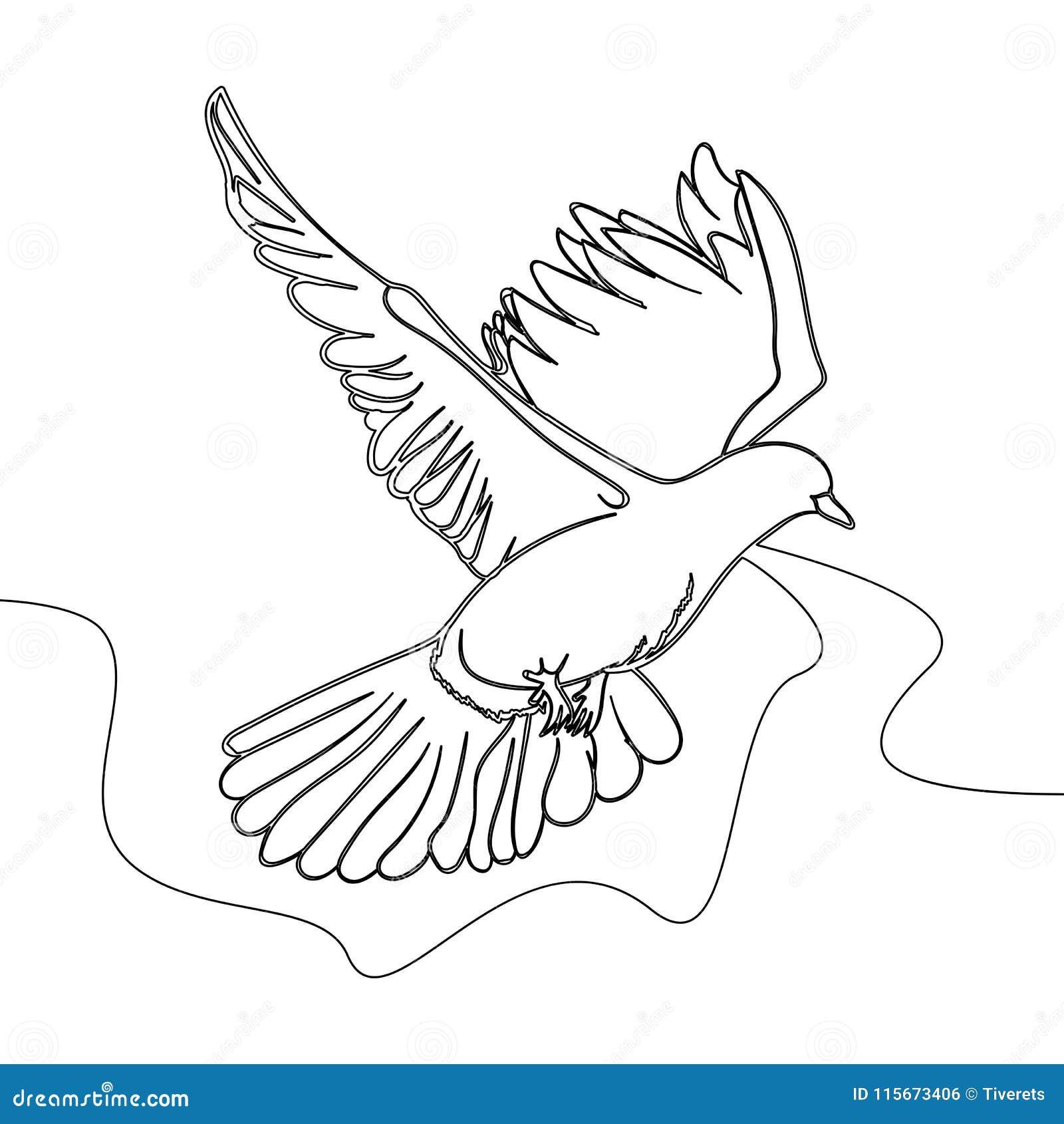 Un Continu Vecteur De Pigeon De Vol De Dessin Au Trait Illustration