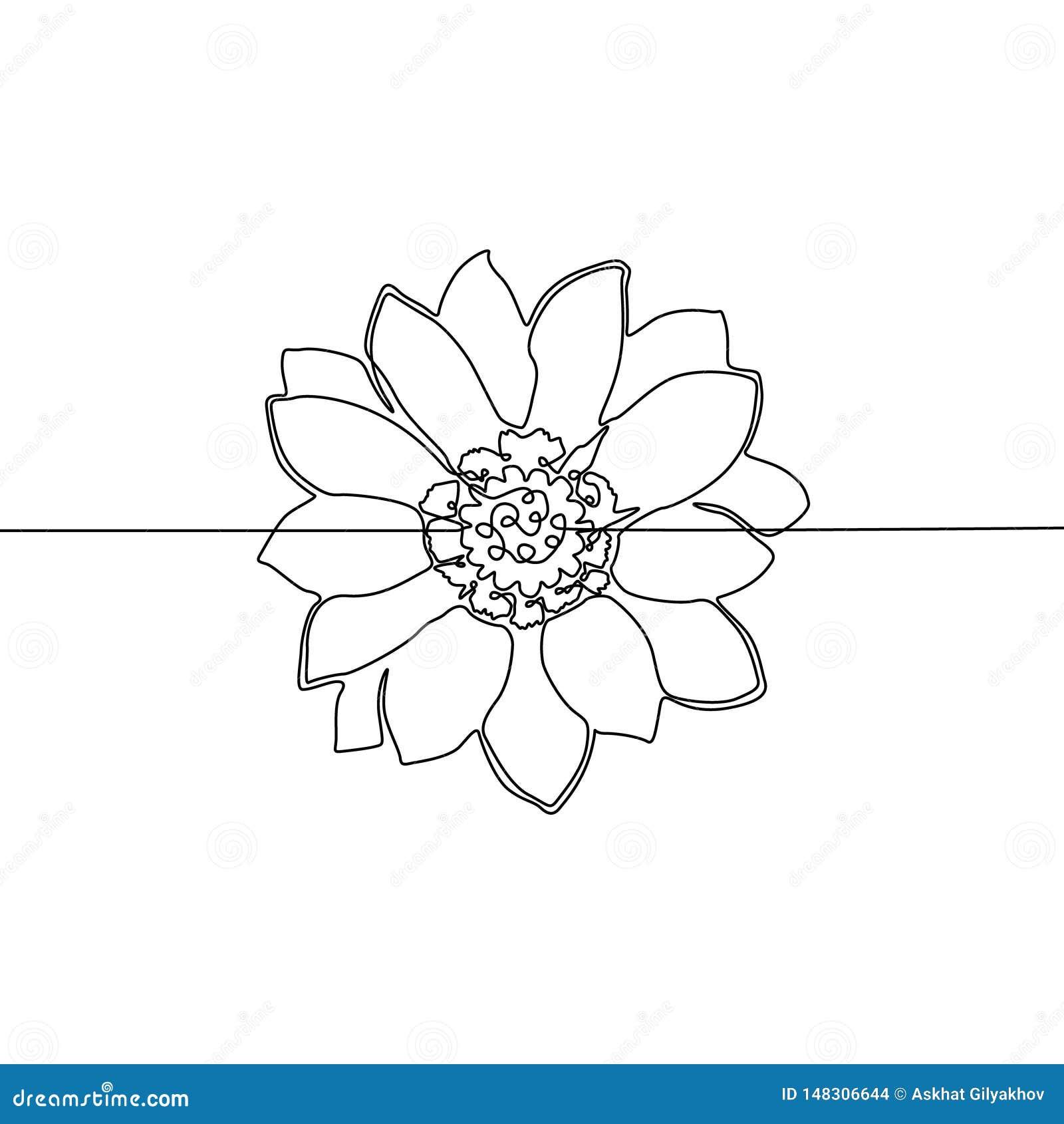 Un continuo fiore del disegno a tratteggio Illustrazione di vettore