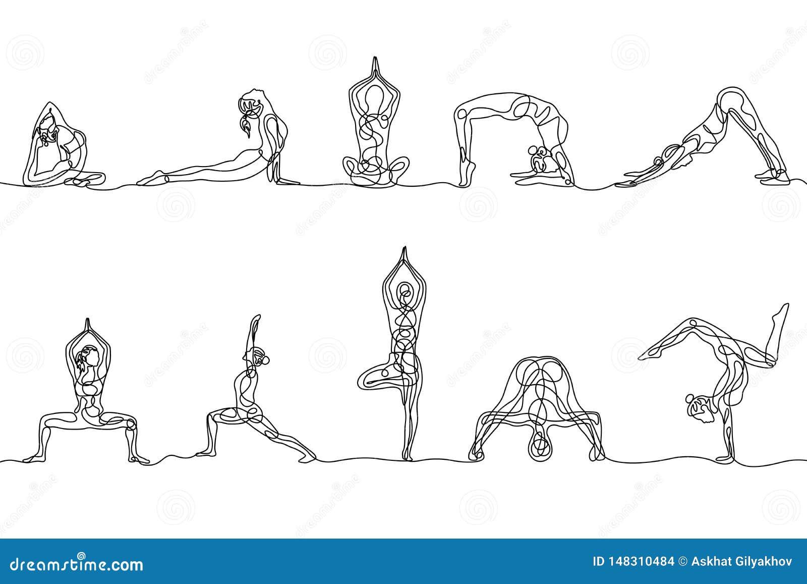 Un continuo insieme del disegno a tratteggio delle pose di yoga della donna Vettore
