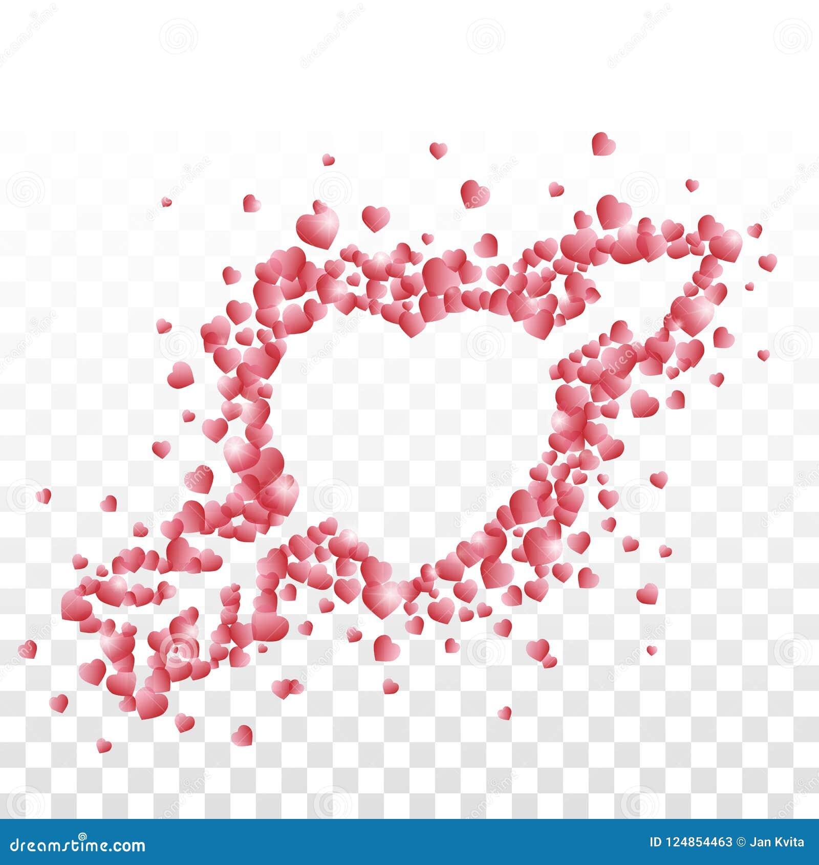 Un corazón perforado con una flecha integrada por pequeño rojo sombreó corazones en fondo transparente