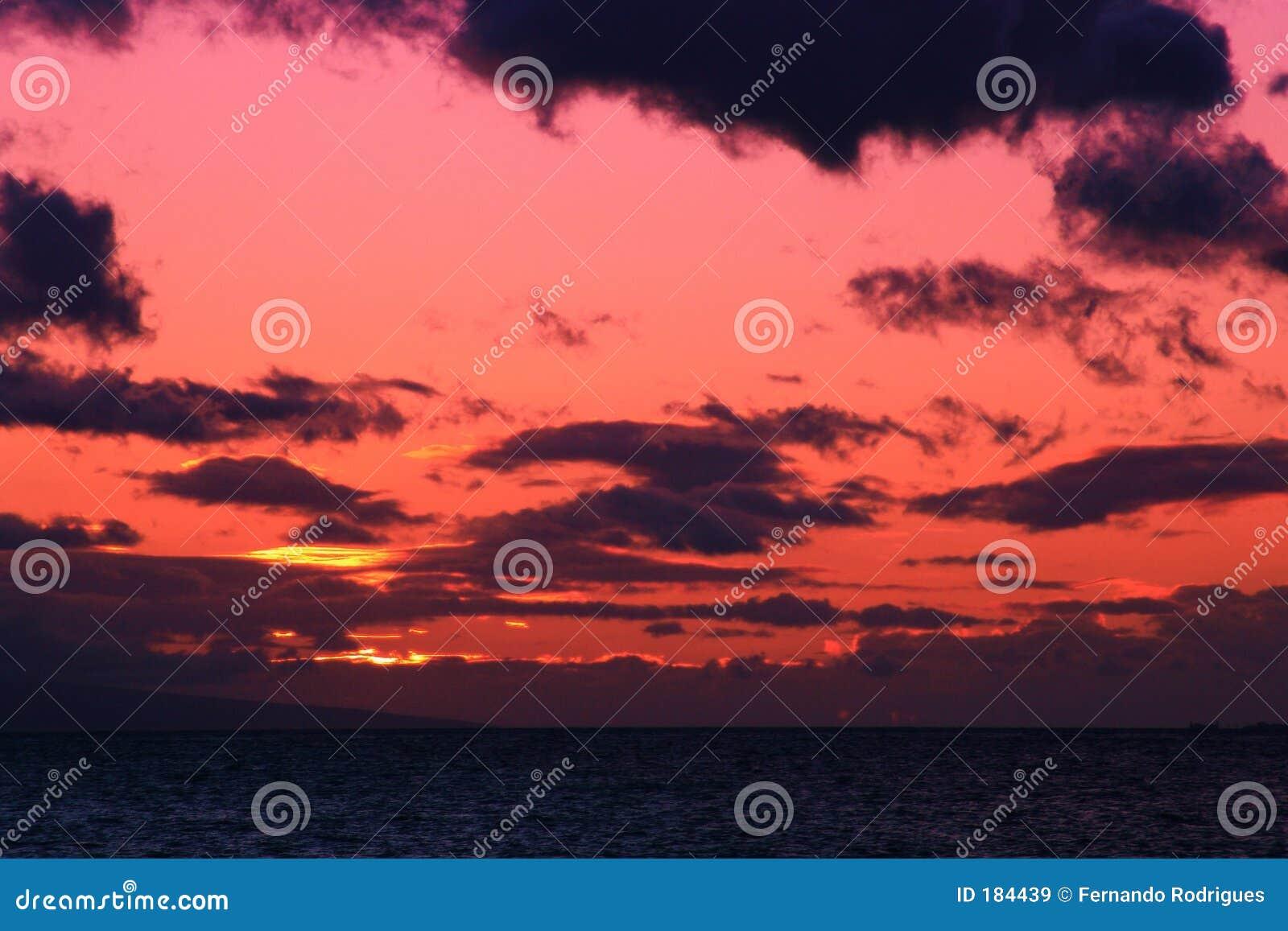 Un coucher du soleil rose