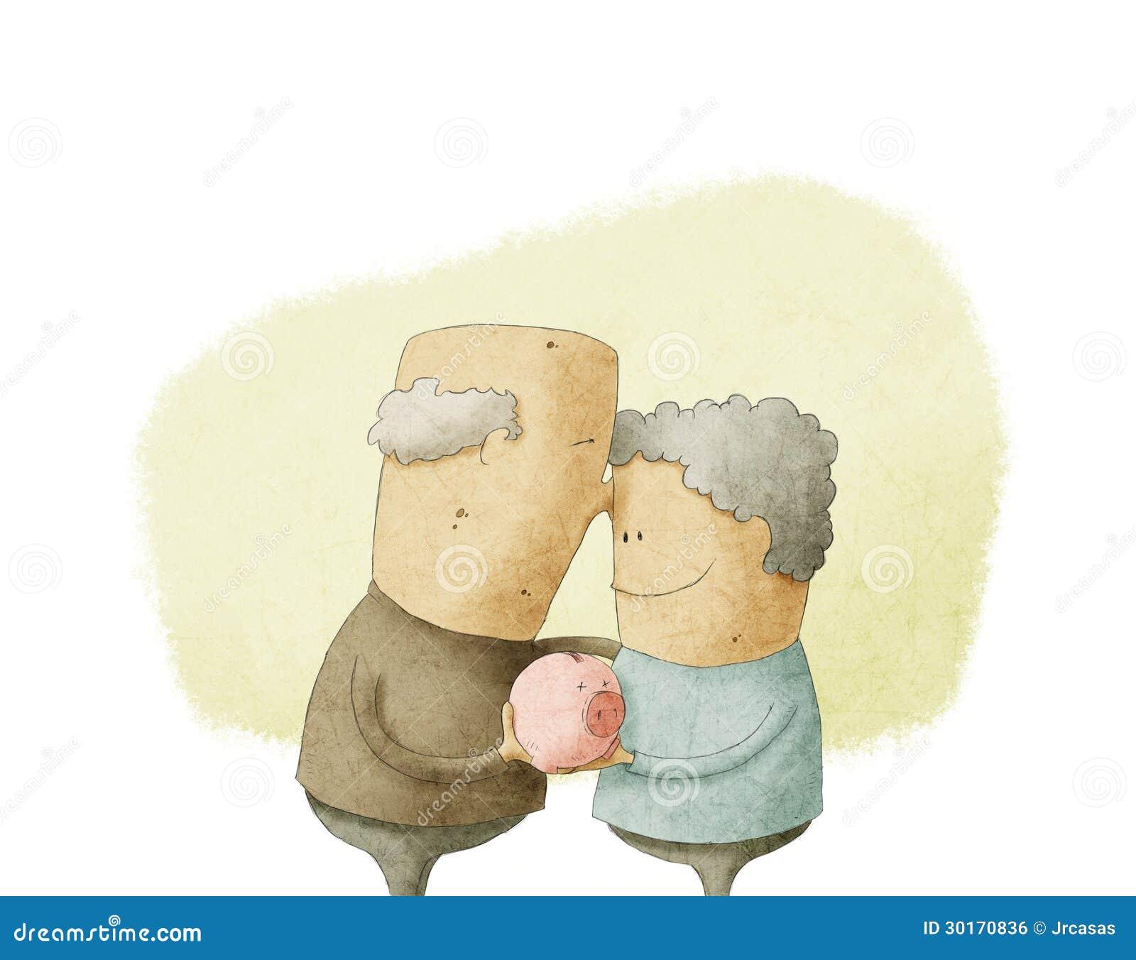 Couples pluss âgé tenant une tirelire