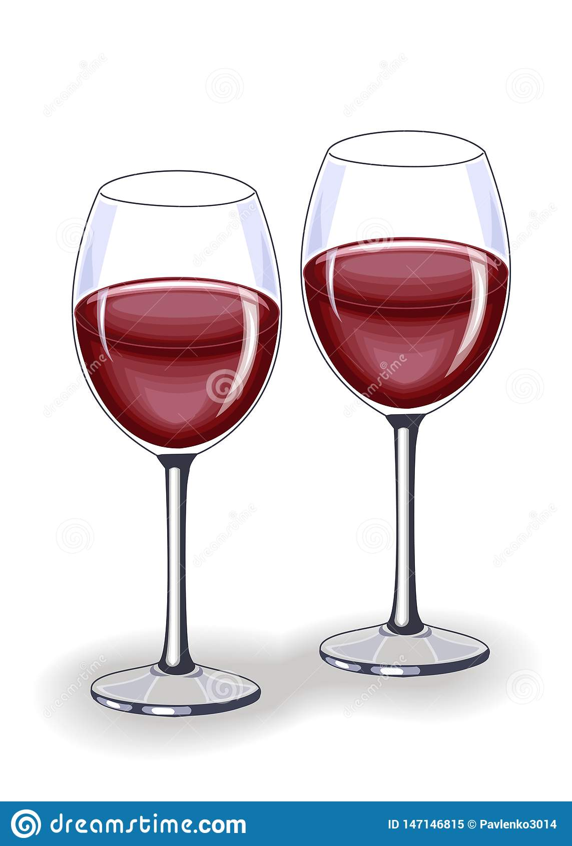 Un cristal hermoso con el vino tinto delicioso Decoraci?n de la tabla festiva Ilustraci?n del vector
