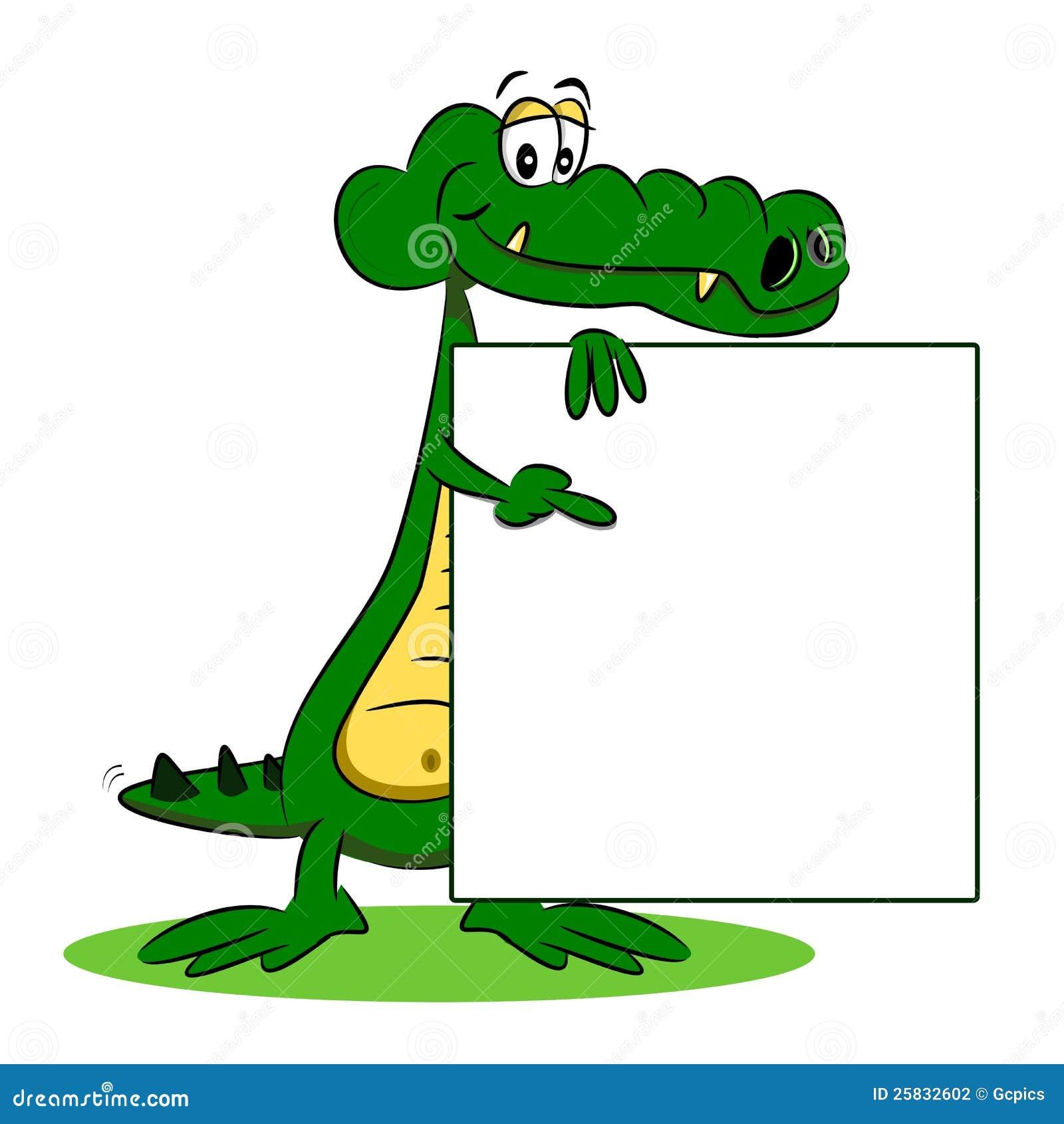 Un crocodile de dessin anim avec le signe photographie stock image 25832602 - Dessin anime les crocodiles ...