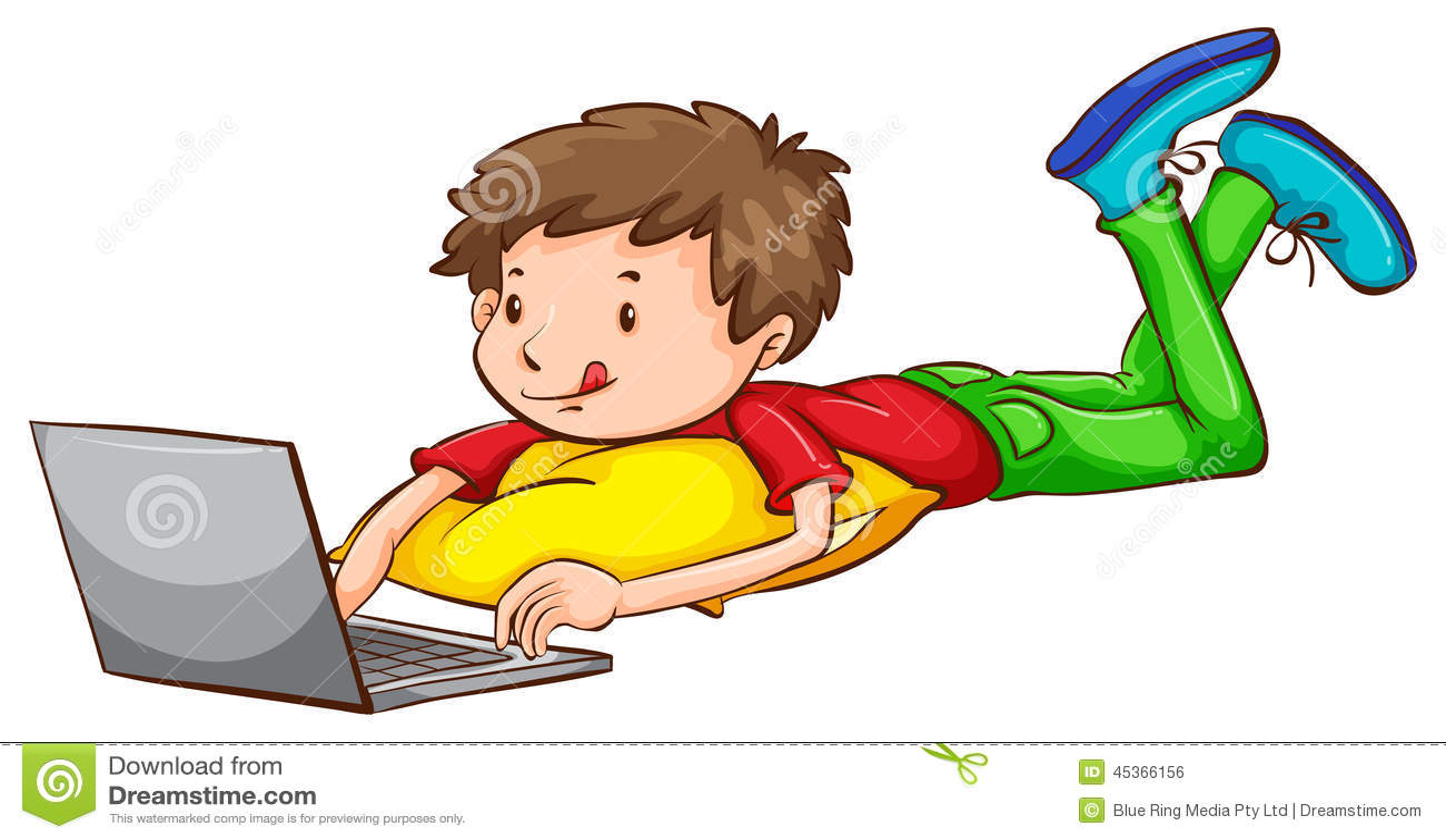 Un croquis coloré d un garçon à l aide d un ordinateur portable