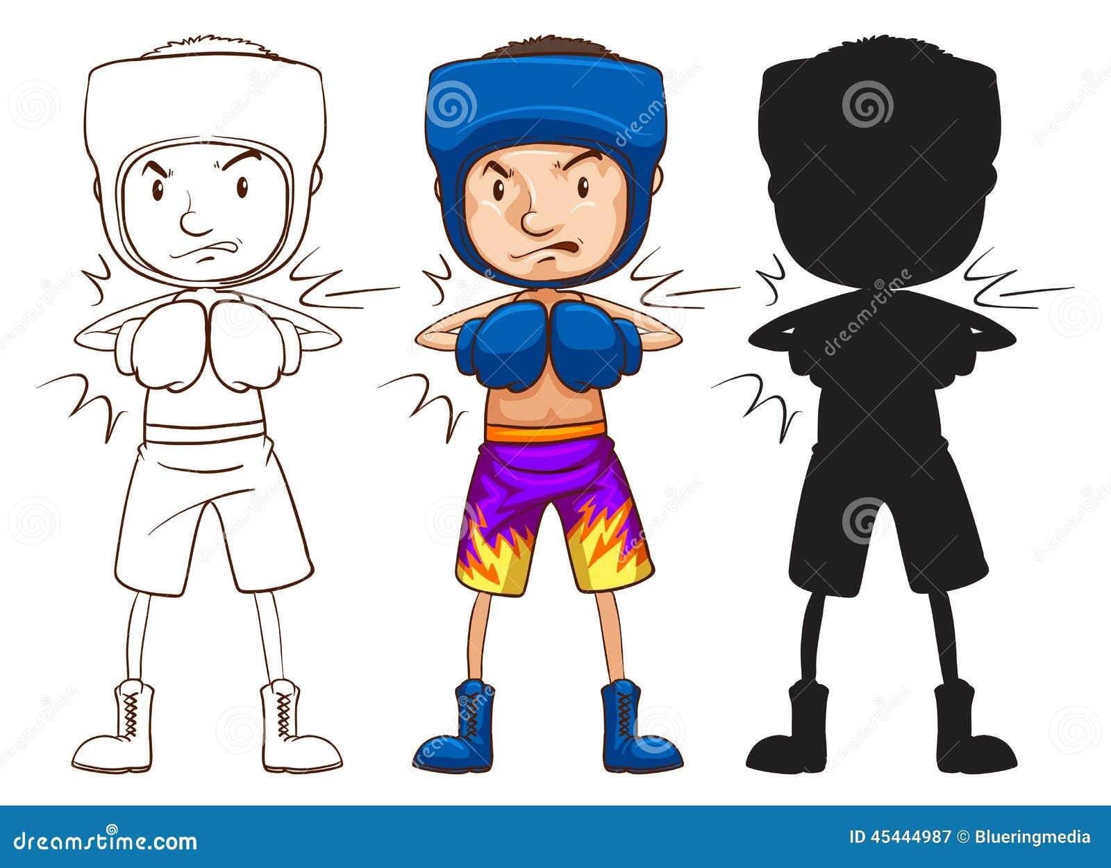 Un croquis d un boxeur masculin dans trois couleurs différentes