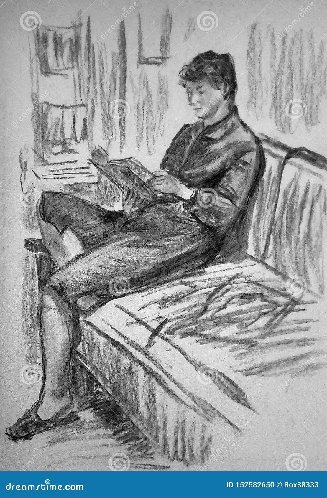 Un croquis de una mujer que se sienta en un sofá en un cuarto