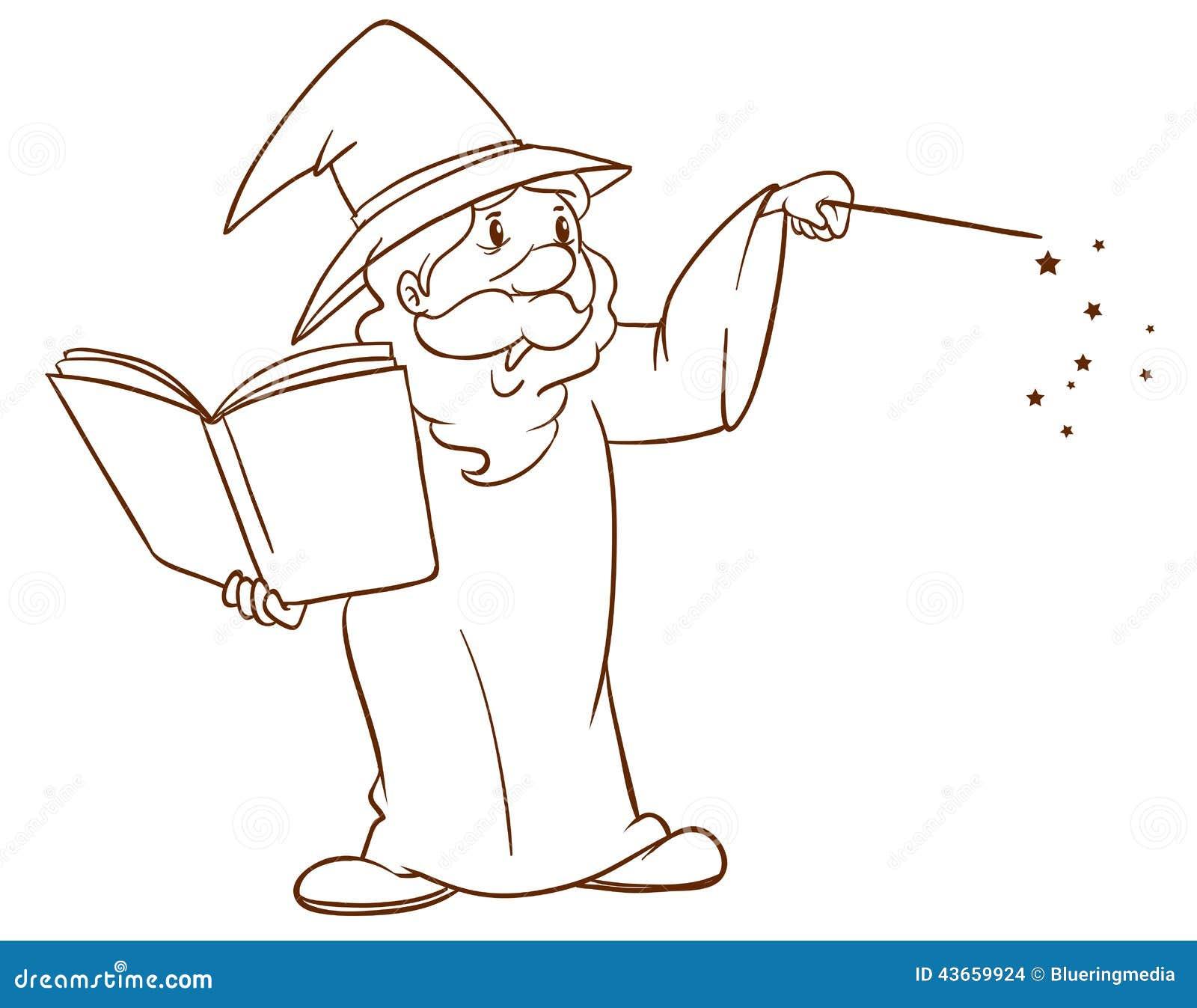 un croquis simple dun magicien images stock