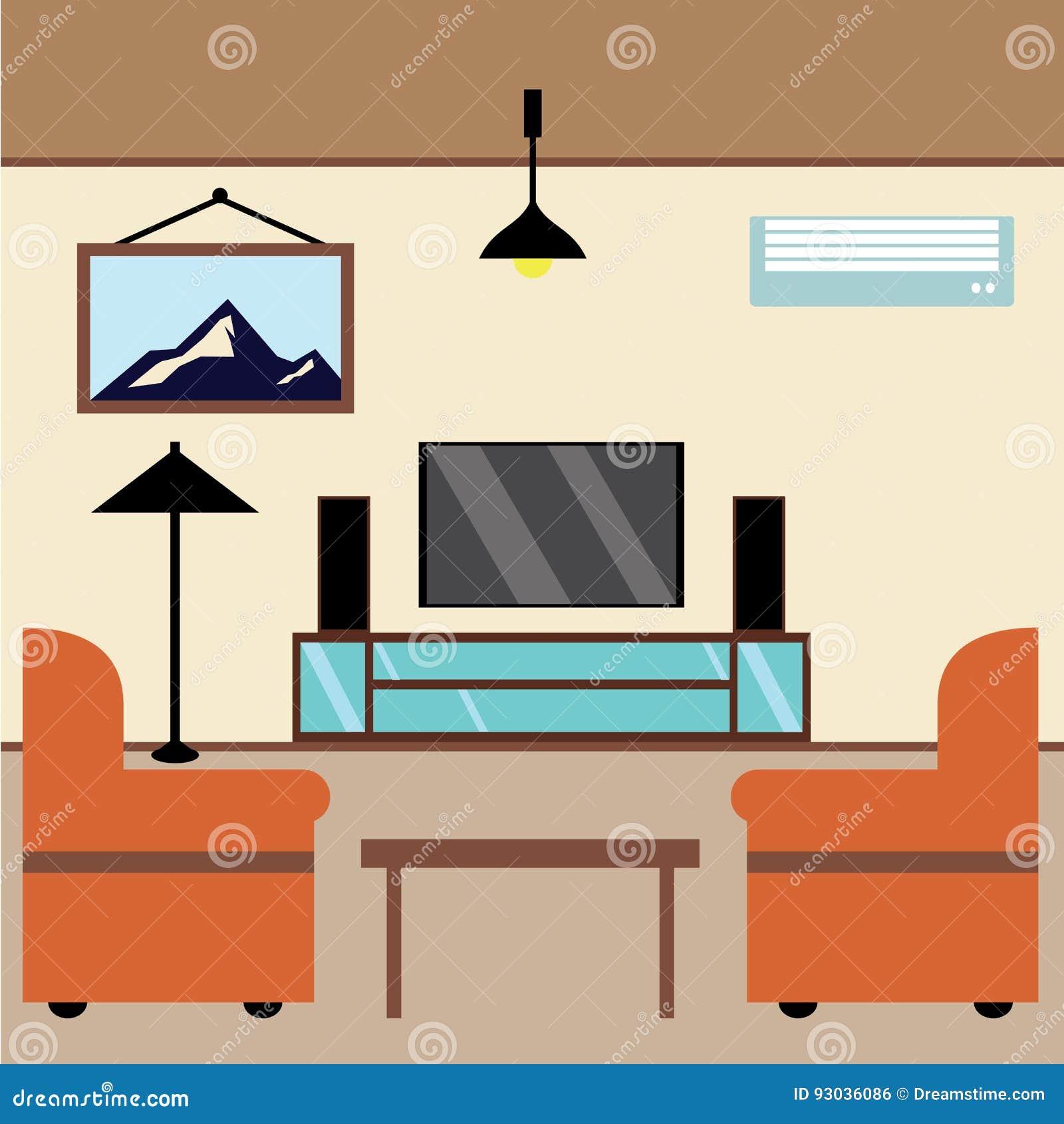 Un Cuarto Relajante De Ver La TV Stock de ilustración - Ilustración ...