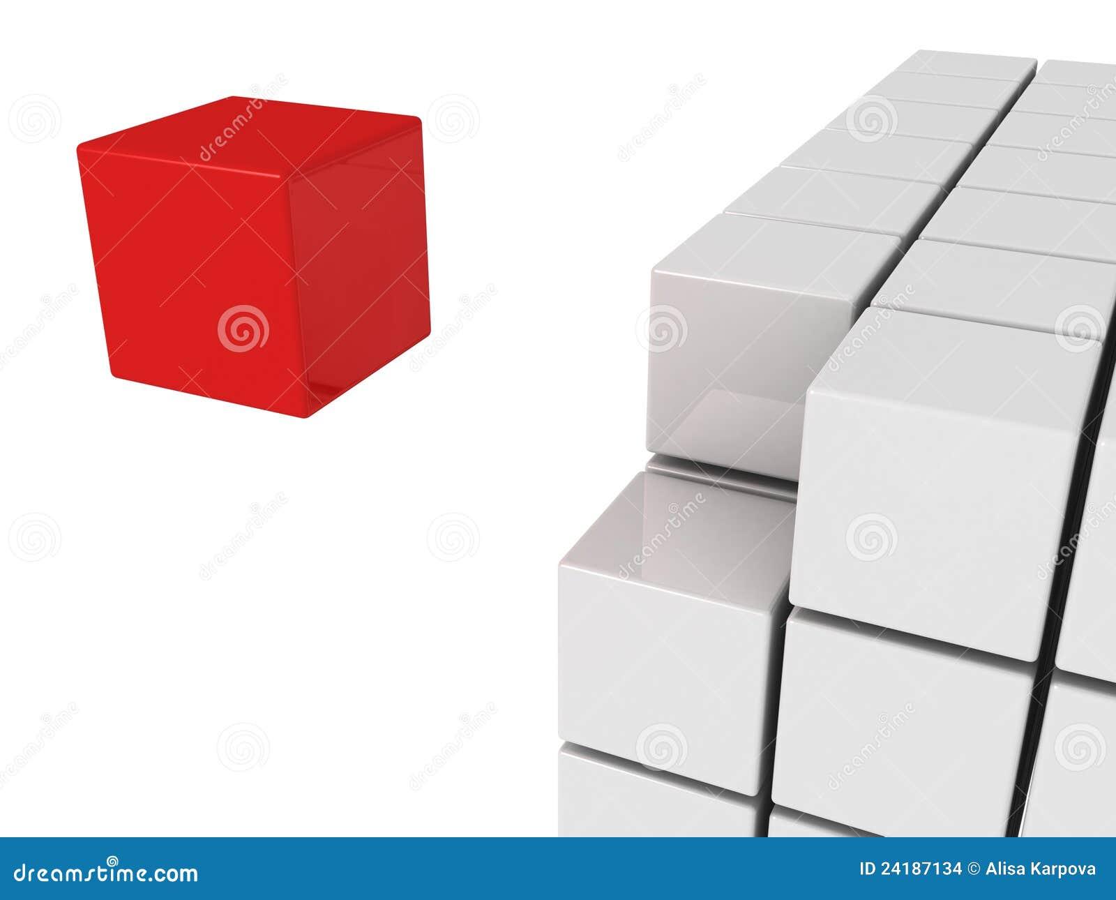 Un cube rouge en unicue de concept d individualité