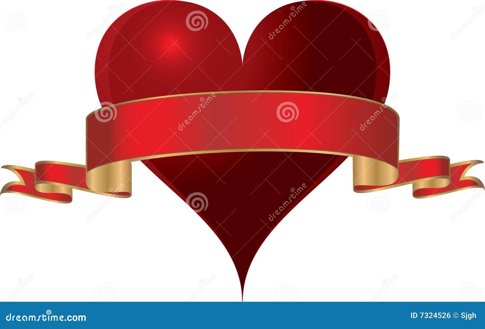 Un cuore di vettore con oro ha orlato il nastro rosso.