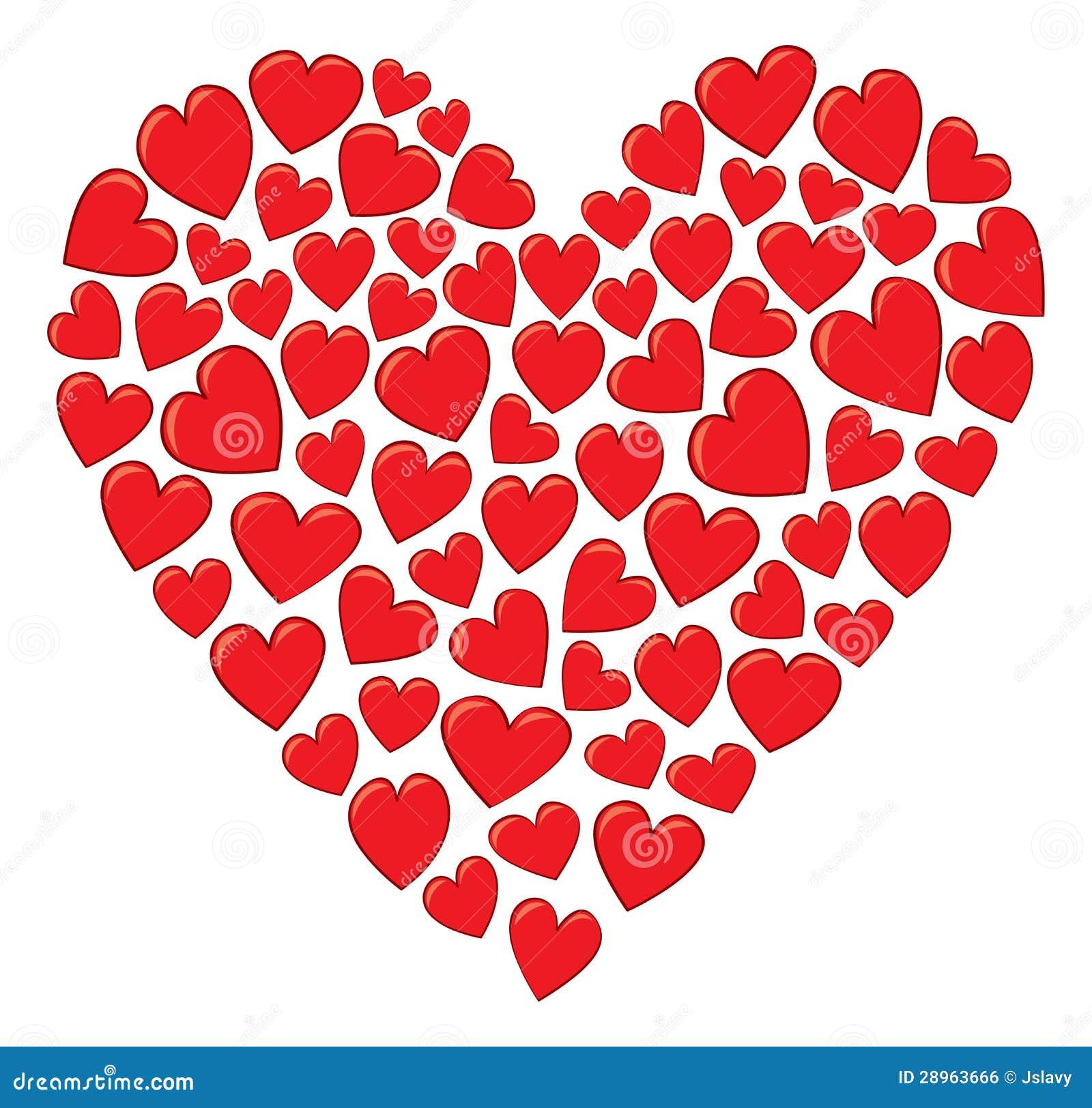 Un cuore fatto dei cuori illustrazione vettoriale for Clipart cuore