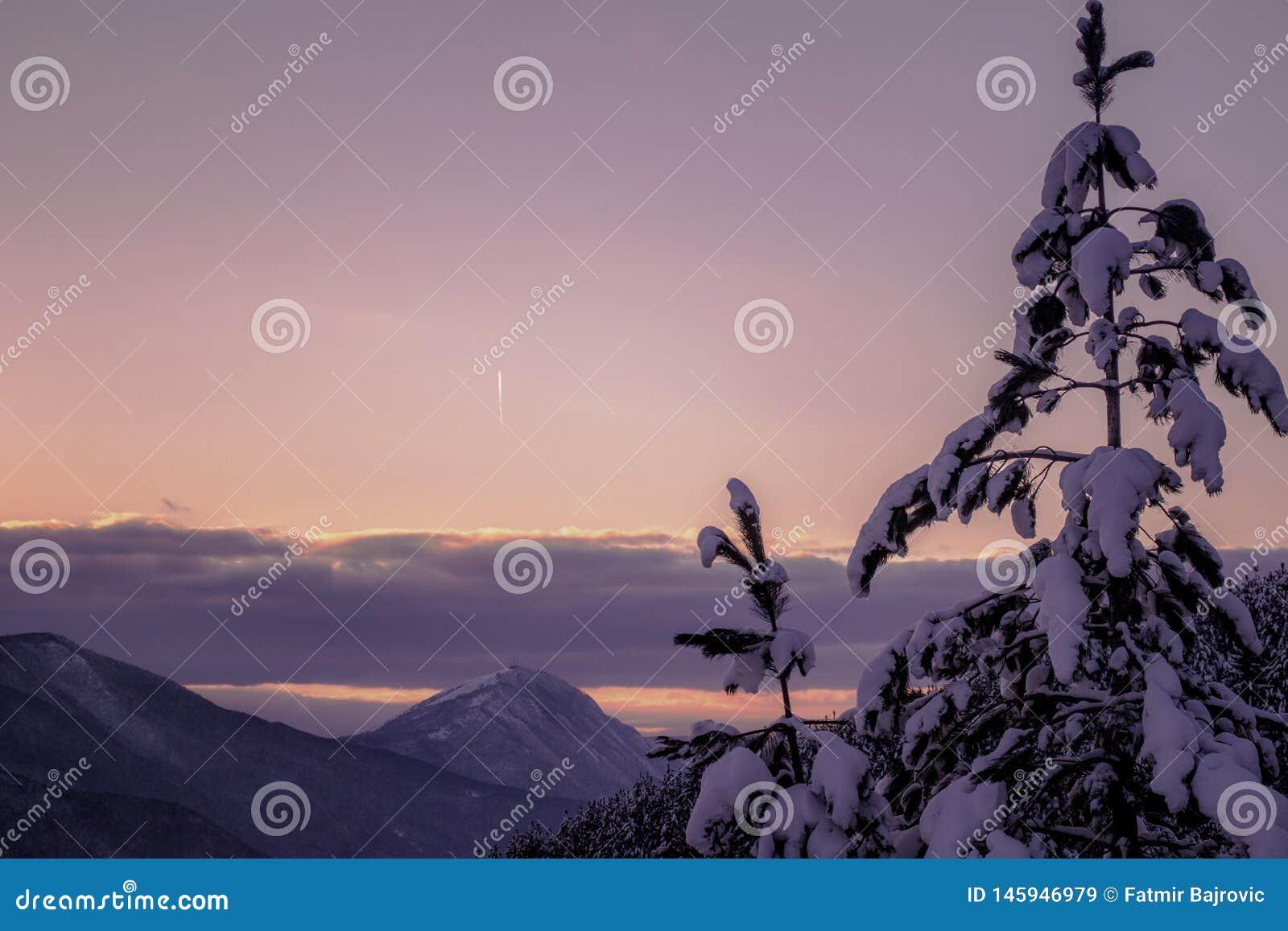 Un d?a vonderful de enero Paisajes hermosos del invierno con puesta del sol