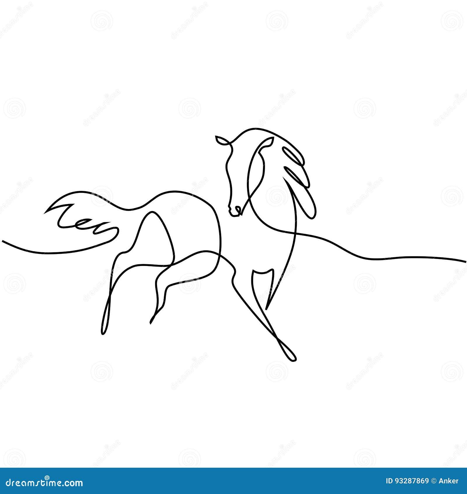 Un dessin au trait continu logo de cheval illustration de - Dessin cheval de trait ...