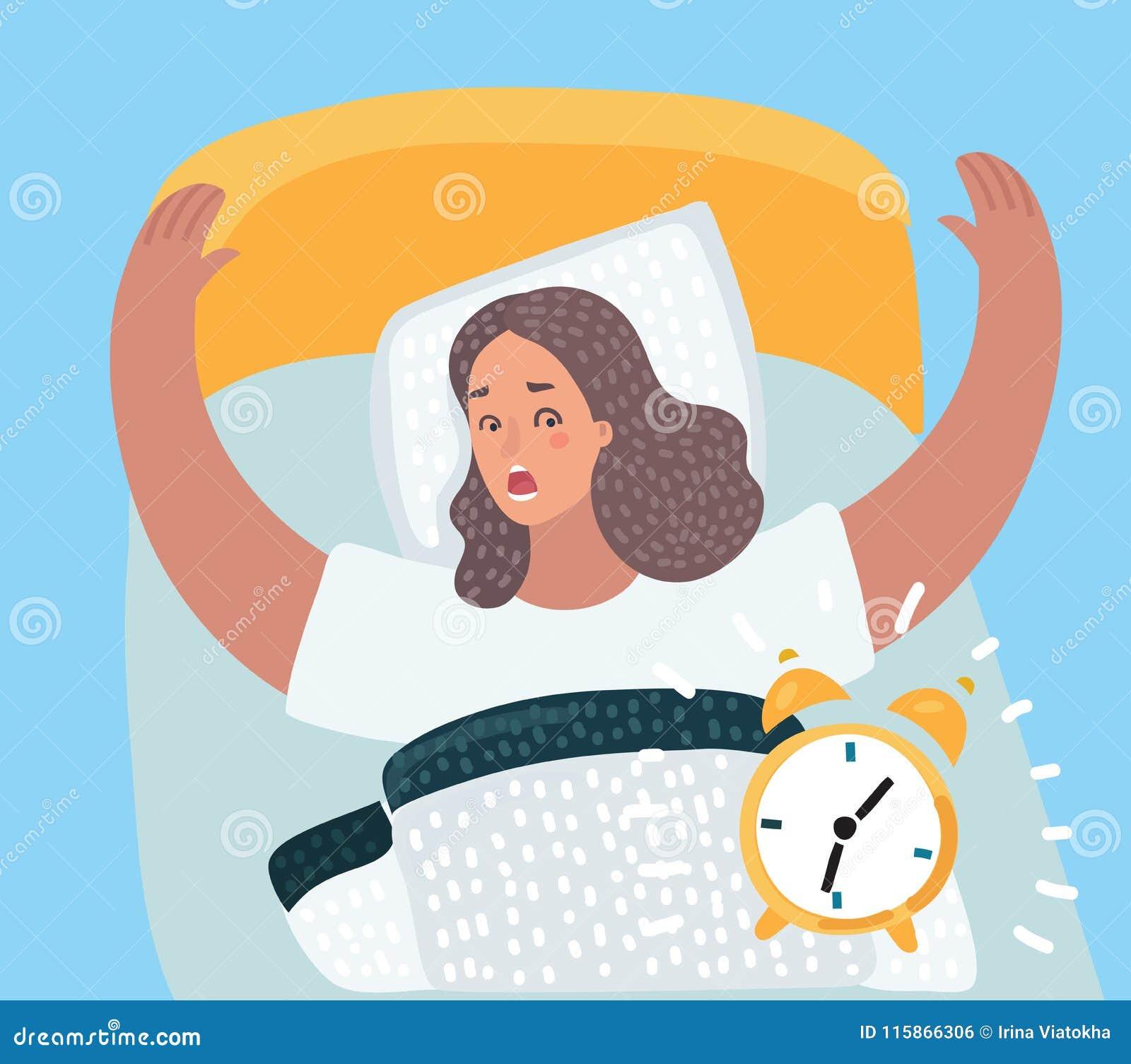 Un dessin d une fille se réveillant avec une alarme