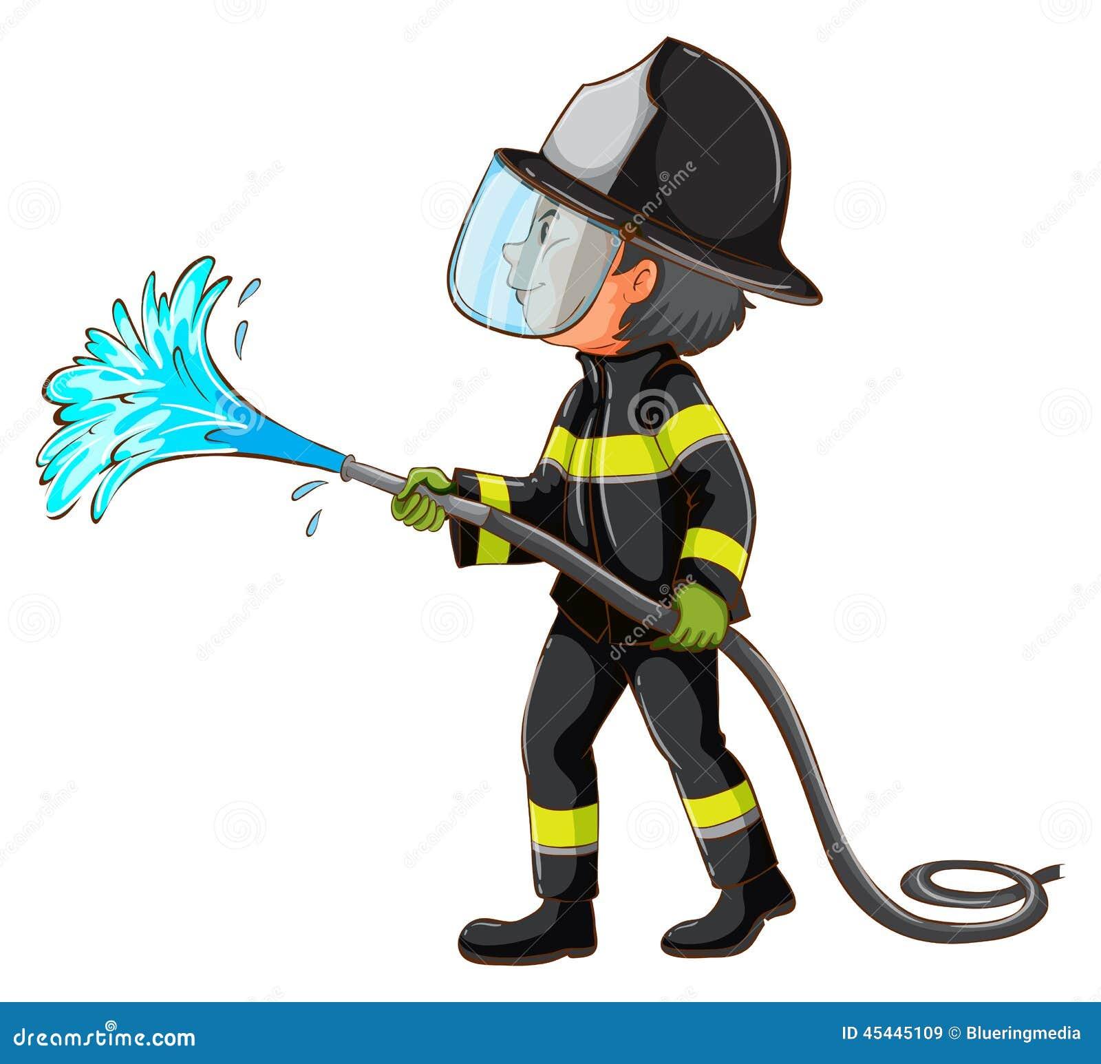 Un dessin simple d 39 un pompier tenant un tuyau illustration - Dessin d un cartable ...