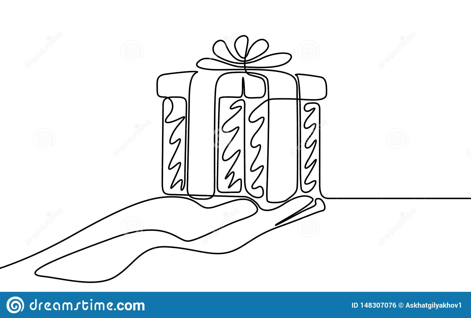 Un dibujo lineal continuo dar un regalo Ilustraci?n del vector