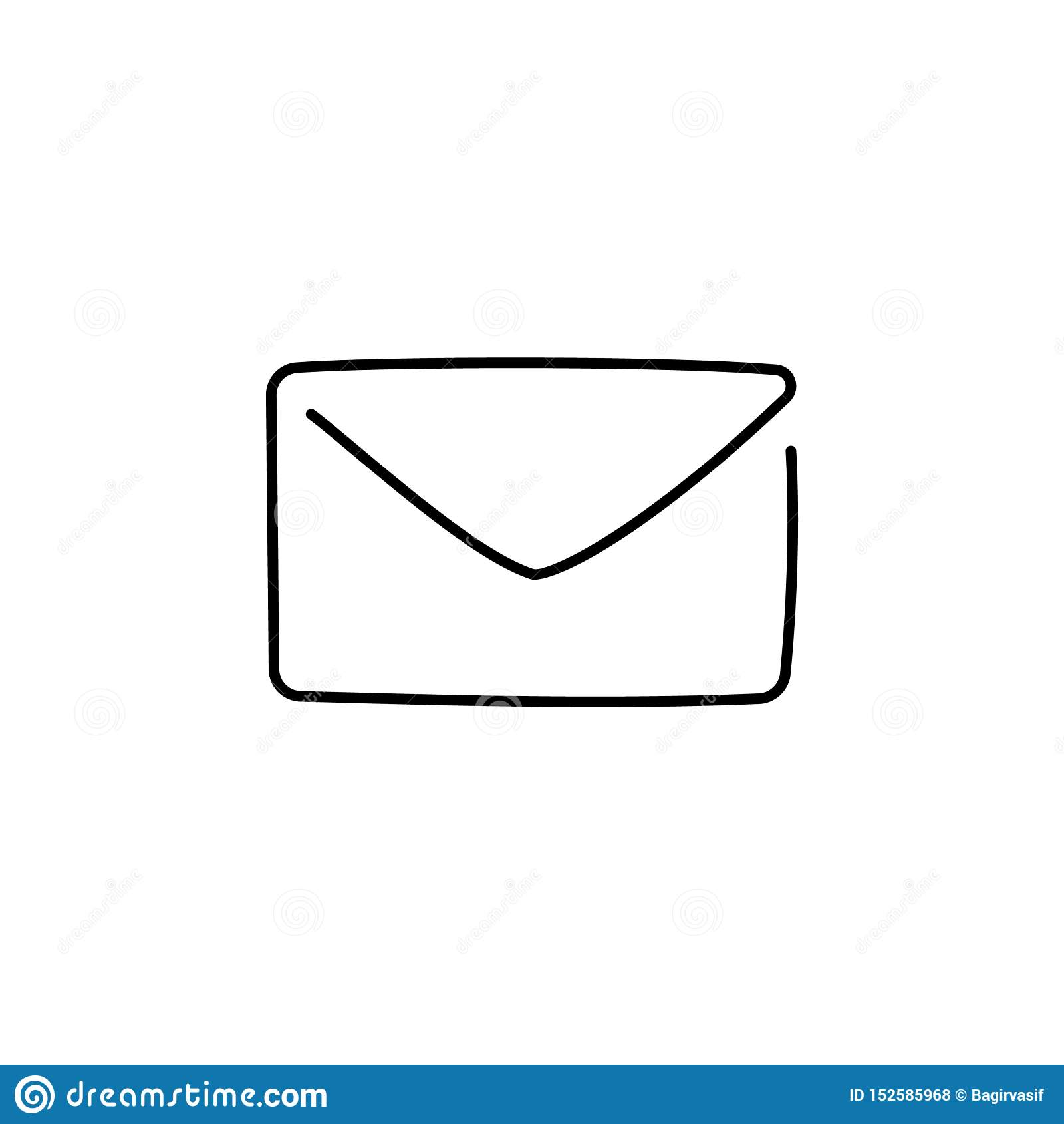 Un dibujo lineal continuo del icono del correo electrónico aislado en el fondo blanco Ejemplo del vector EPS10 para la bandera, w