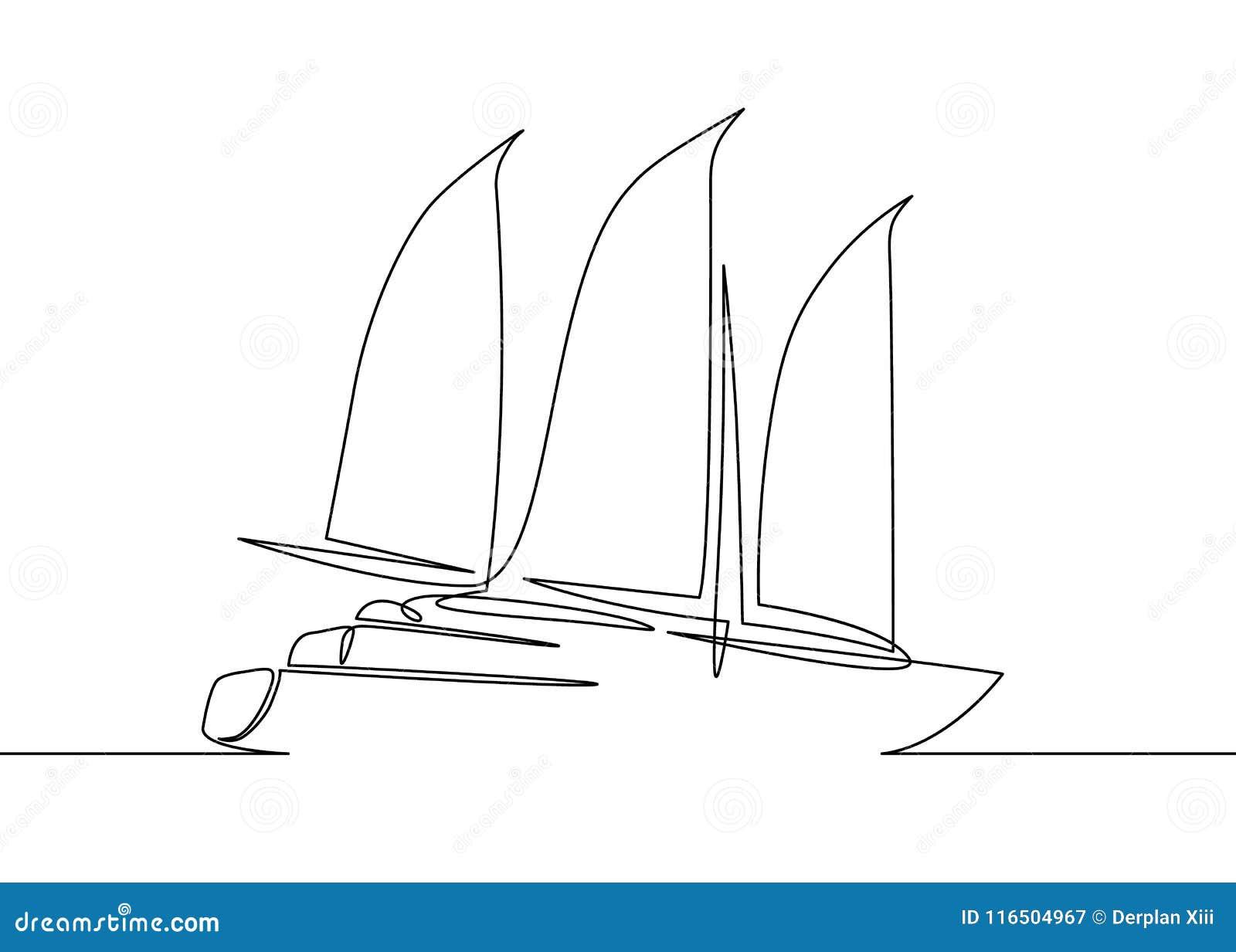 Un Dibujo Lineal Del Yate Del Velero Ilustración Del Vector