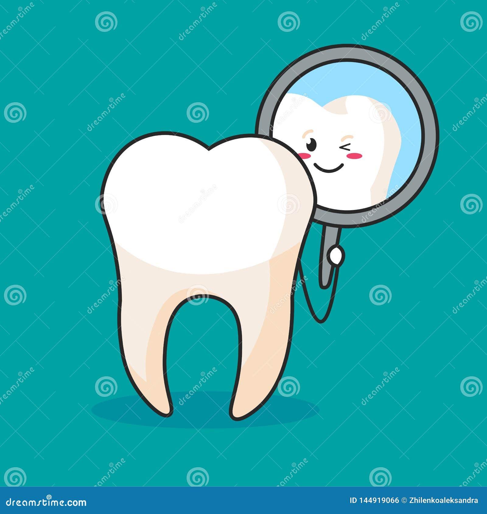 Un diente que mira en un espejo dental