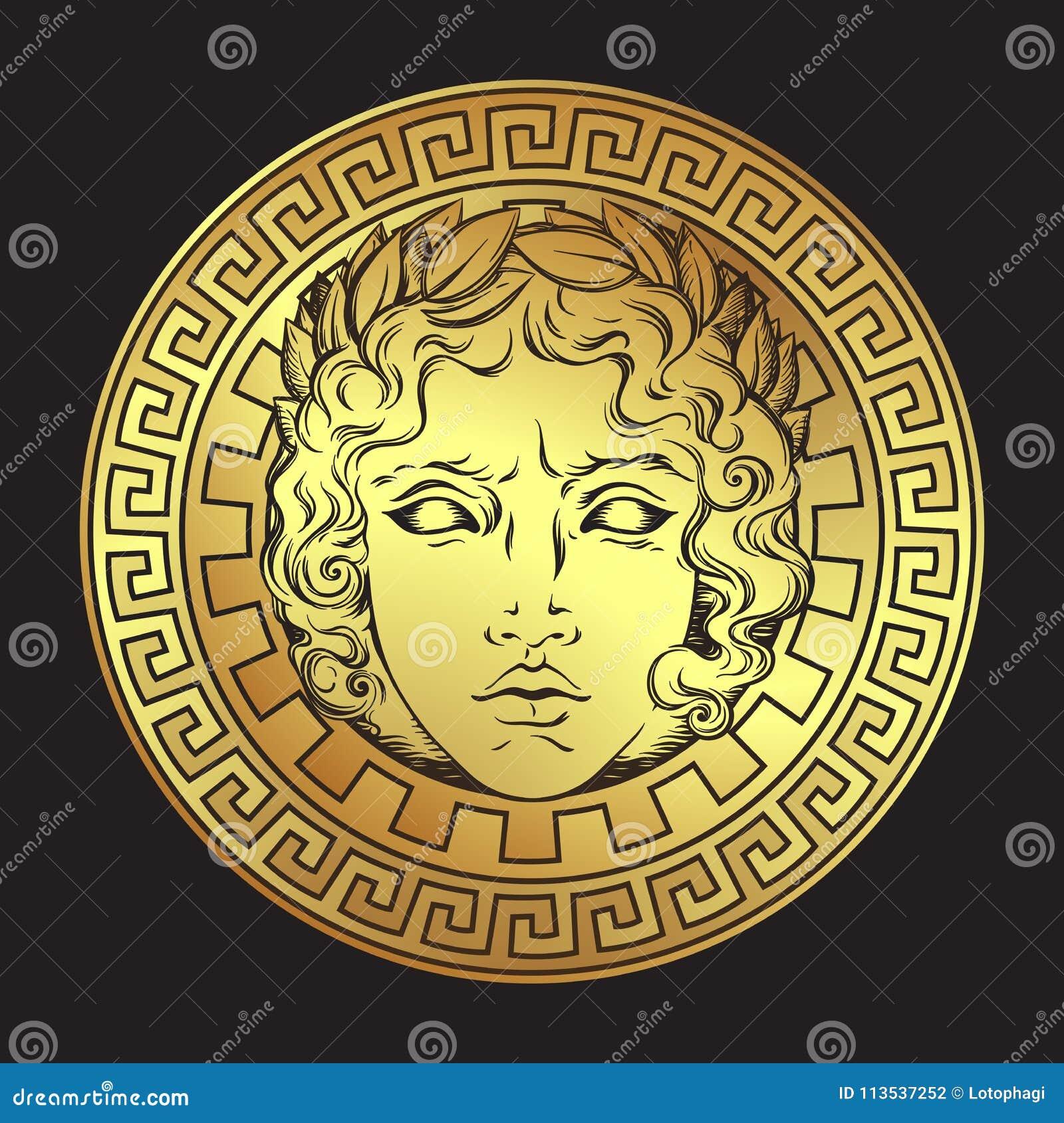 Un dieu grec et romain Apollo Logo de style ou illustration antique tiré par la main de vecteur d art de conception d impression