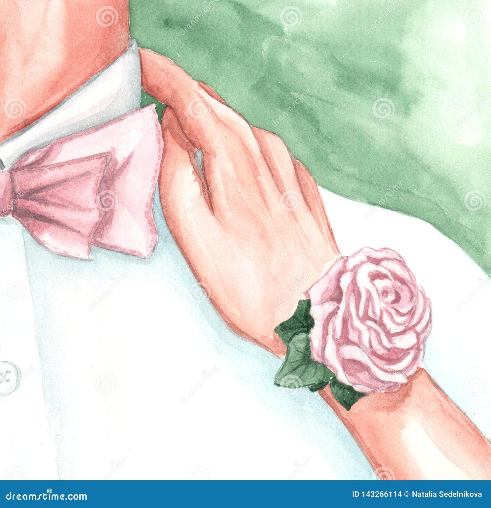 Un disegno dell acquerello della sposa e dello sposo