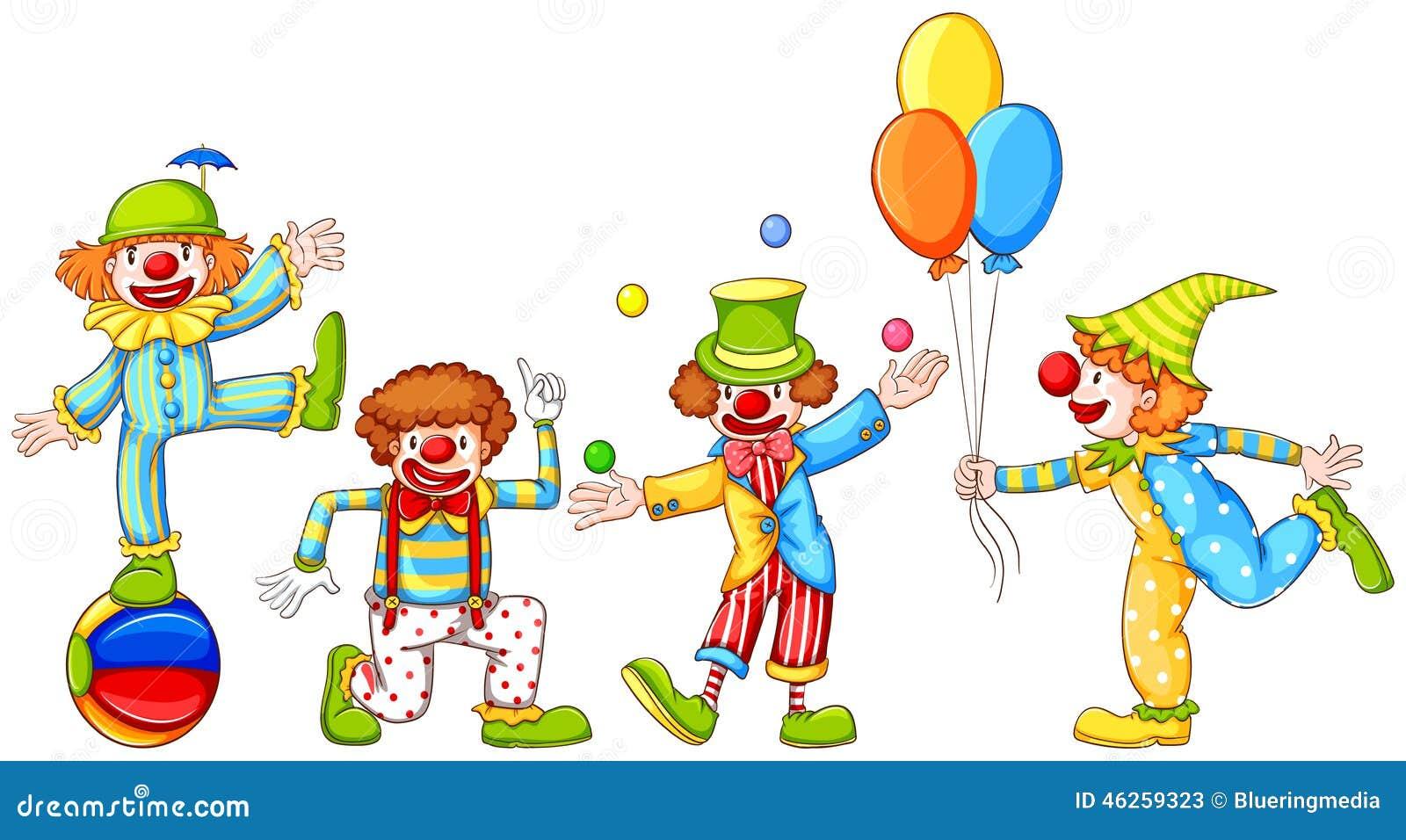 Un disegno semplice di quattro pagliacci allegri for Immagini di clown da colorare