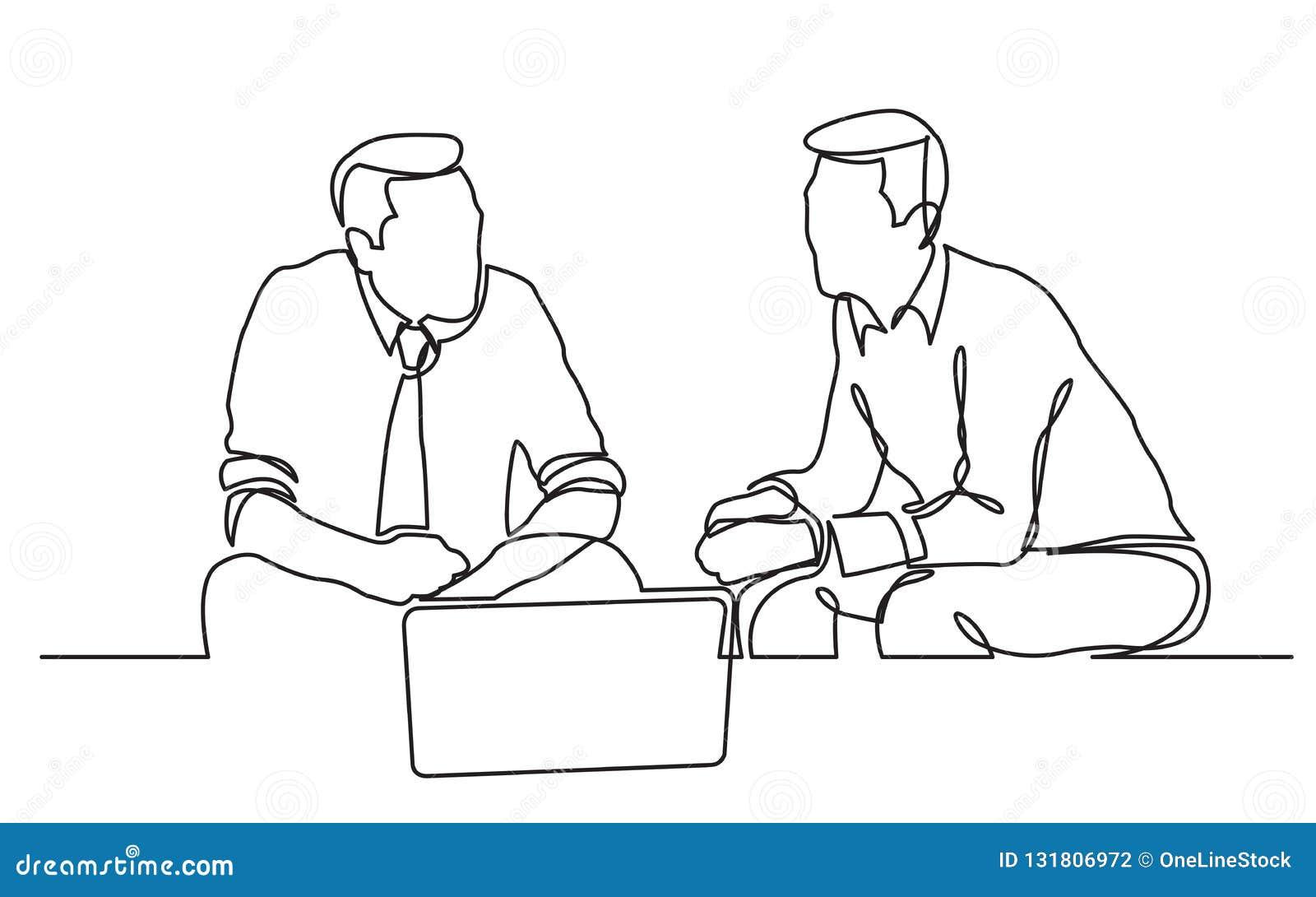 Un disegno a tratteggio continuo di due uomini d affari che si siedono e che parlano