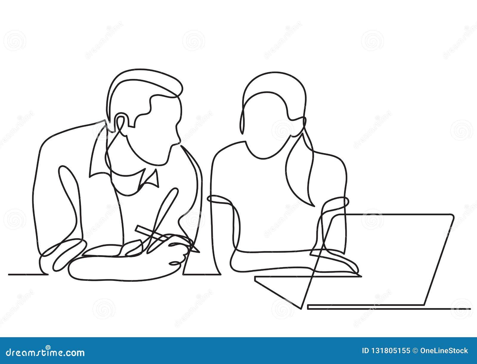 Un disegno a tratteggio continuo di una conversazione di due colleghe