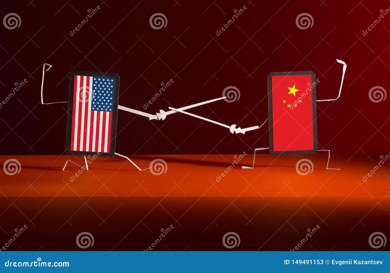 Un duelo con las espadas entre los tel?fonos de los E.E.U.U. y China