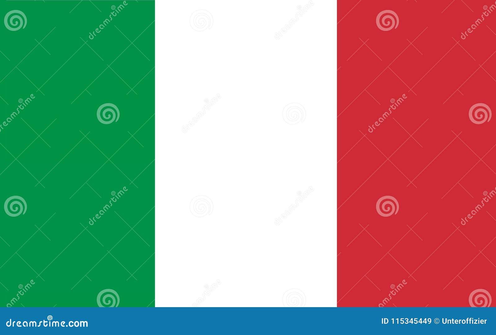 Un ejemplo generado por ordenador de los gráficos de la bandera de Italia