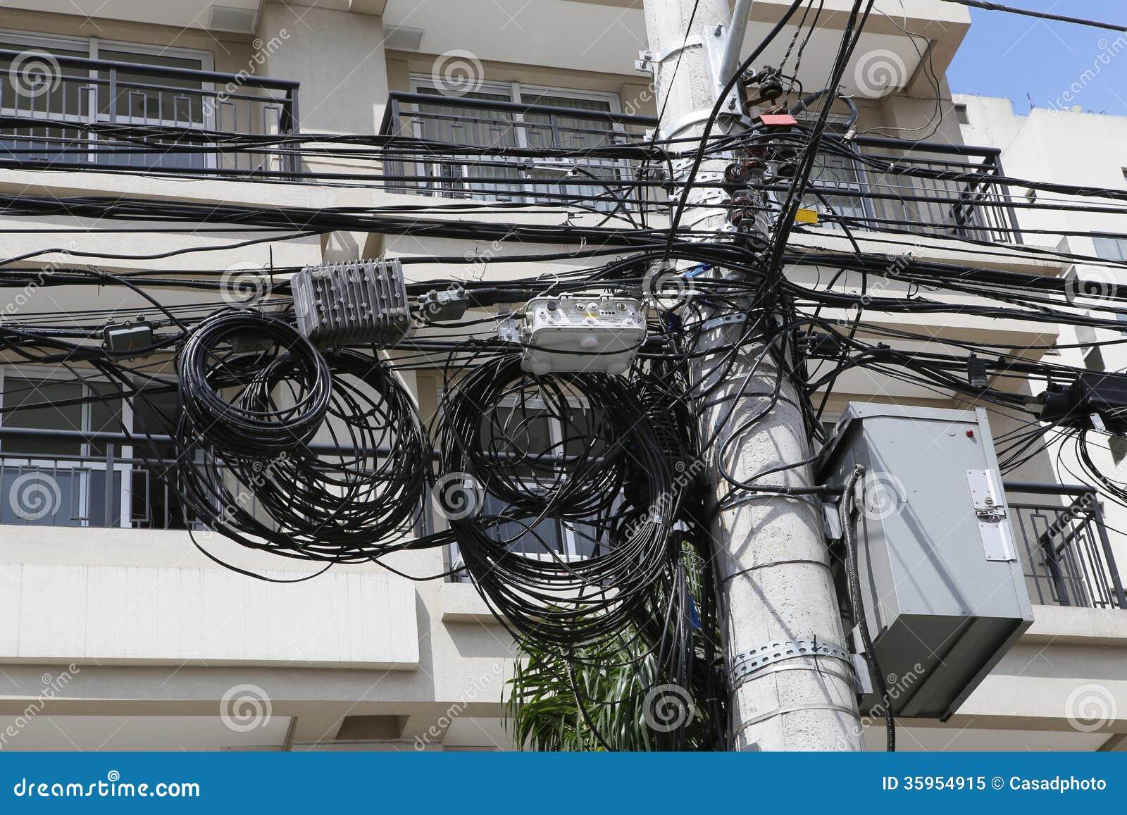 Un enredo de cables y de alambres