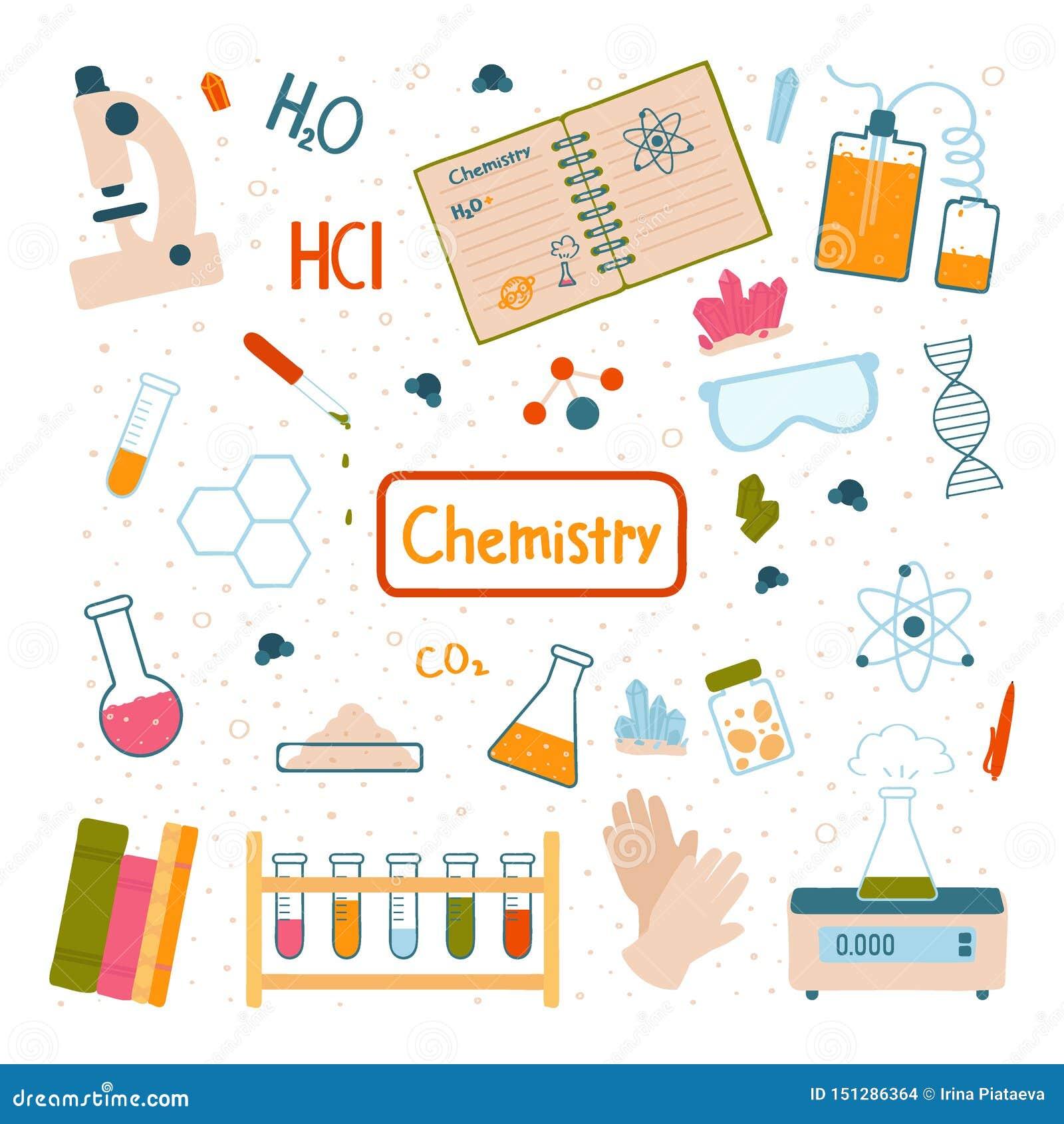 Un ensemble d articles pour des expériences chimiques Cours d école Illustration de vecteur d isolement sur le fond blanc