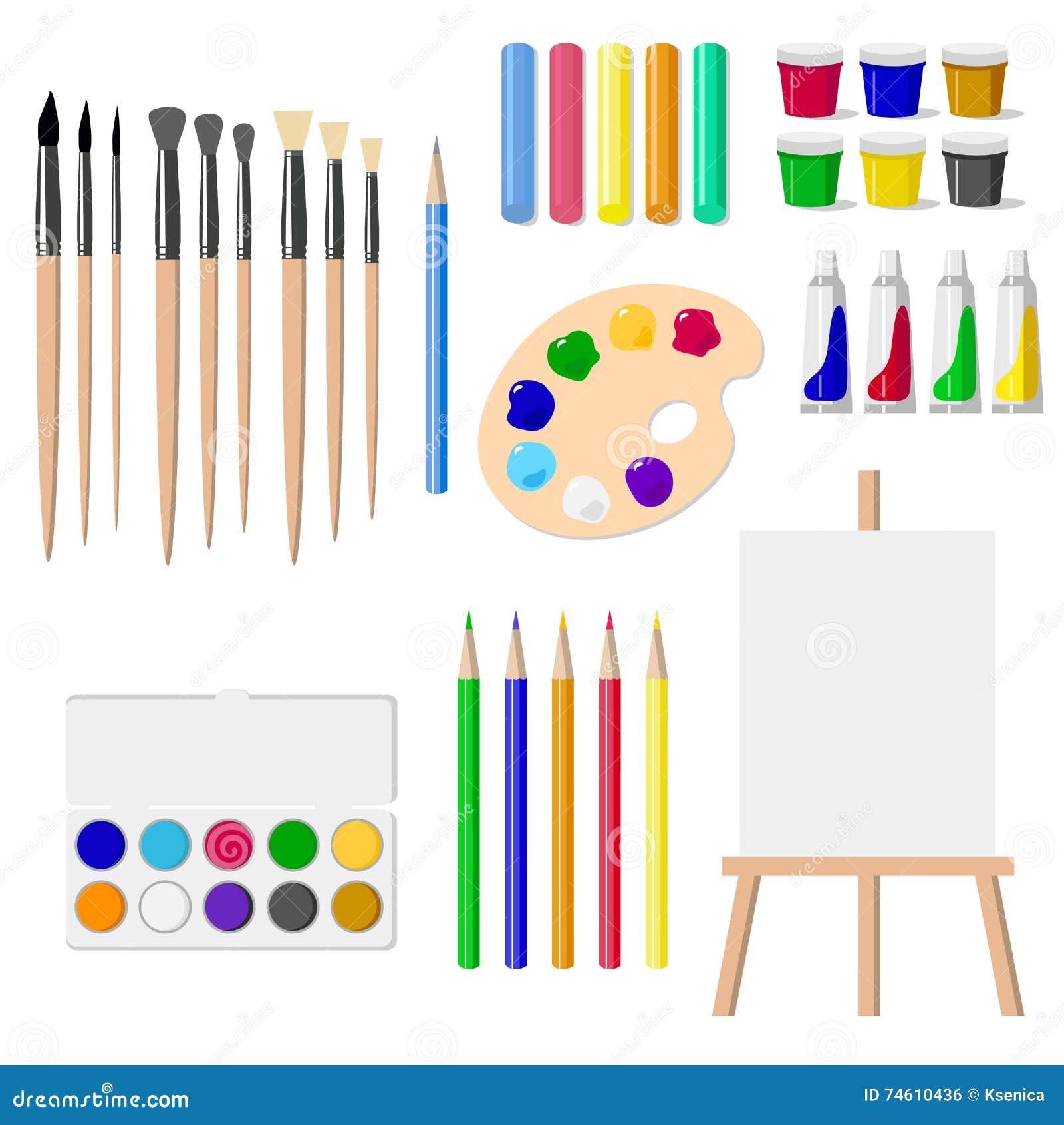 un ensemble d 39 outils de dessin un chevalet peintures brosses crayons crayons a isol des. Black Bedroom Furniture Sets. Home Design Ideas