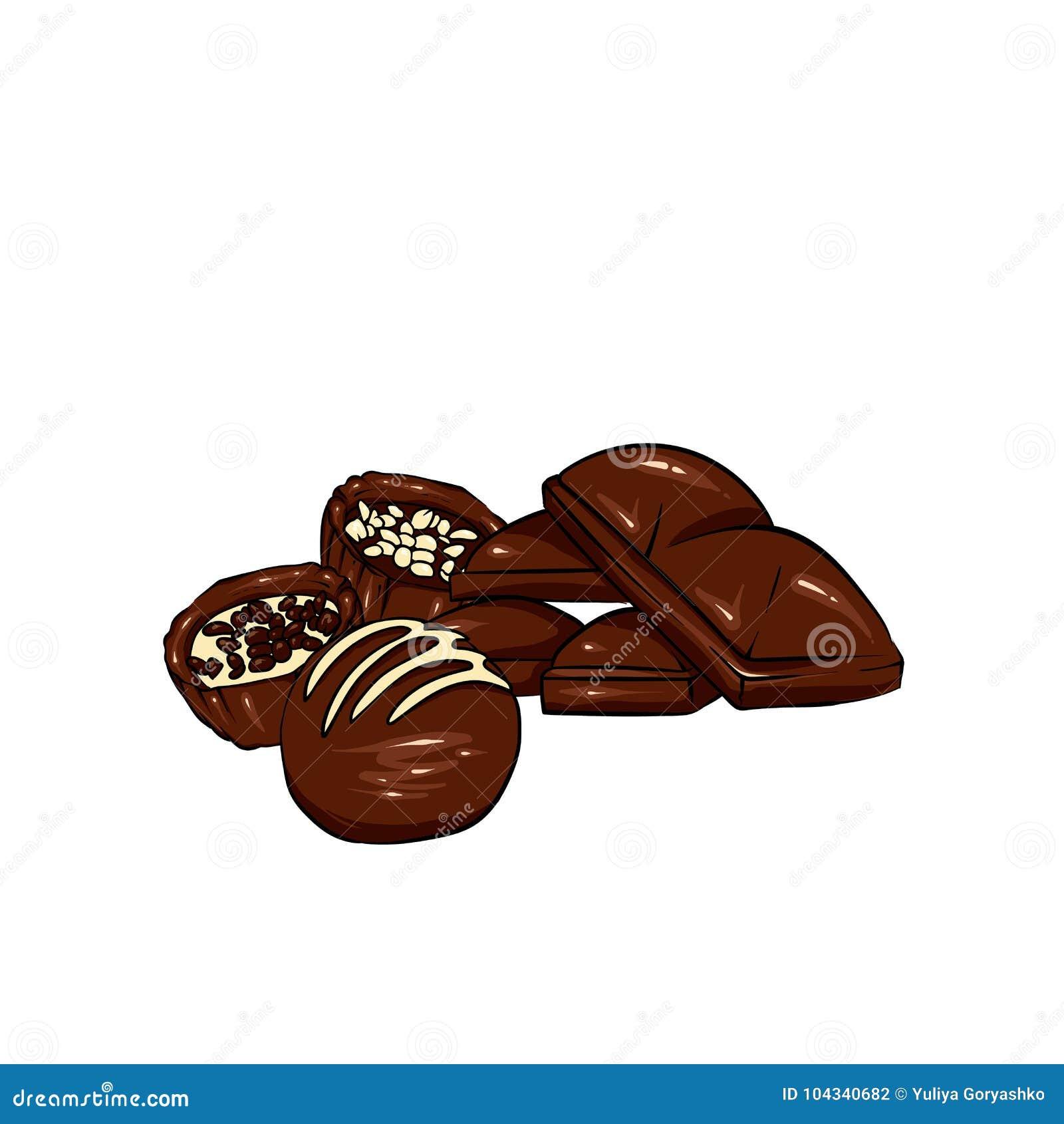 Un ensemble de chocolat Dirigez les bonbons, les puces, les barres et les taches et les taches de chocolat Chocolat fondu