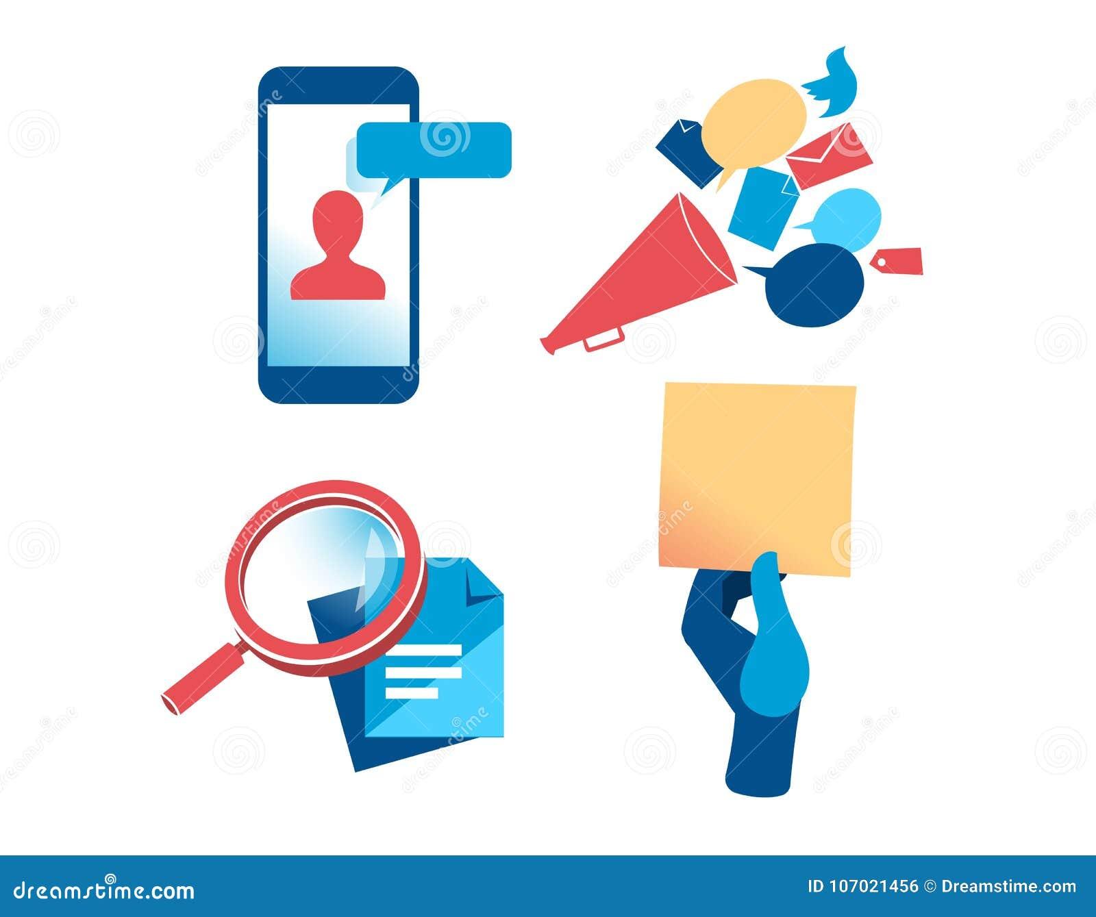 Un ensemble de clipart de communication et de vente