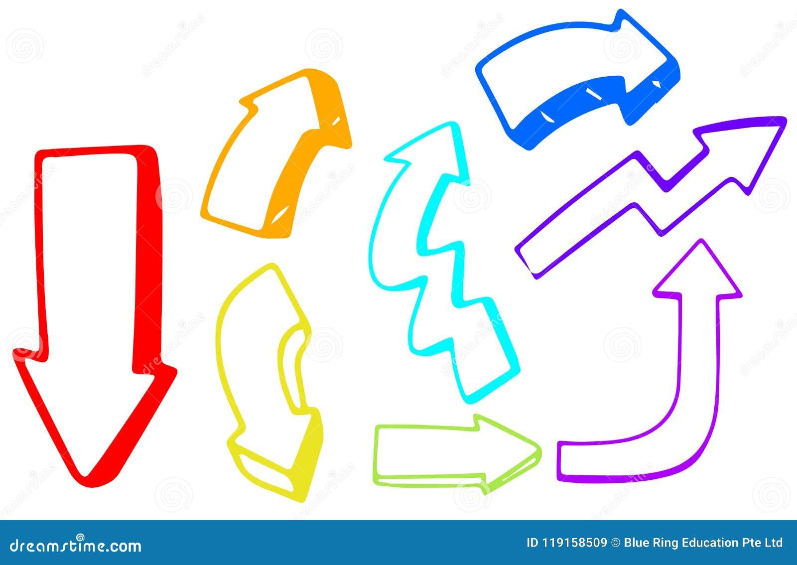 Un ensemble de direction colorée de flèche
