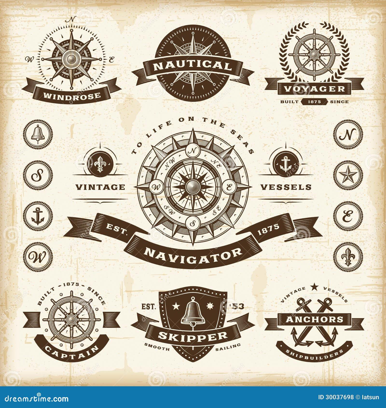 Ensemble de labels nautique de cru