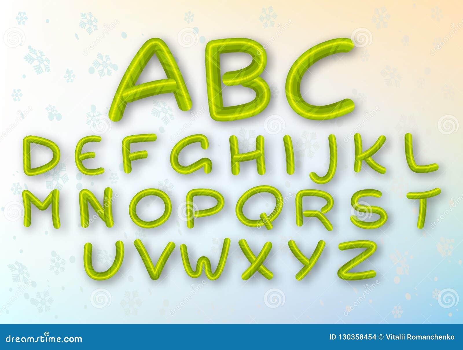 Un ensemble de lettres vertes de caramel La police lumineuse de nouvelle année de vecteur ABC Alphabet rayé de bande dessinée