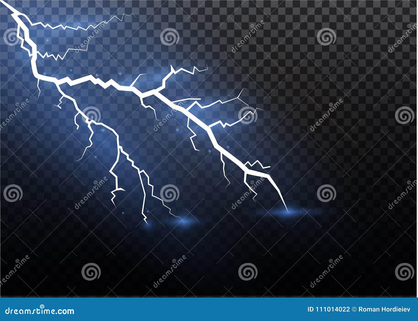 Un ensemble de magie de foudre et d effets de la lumière lumineux Illustration de vecteur Courant électrique de décharge Courant