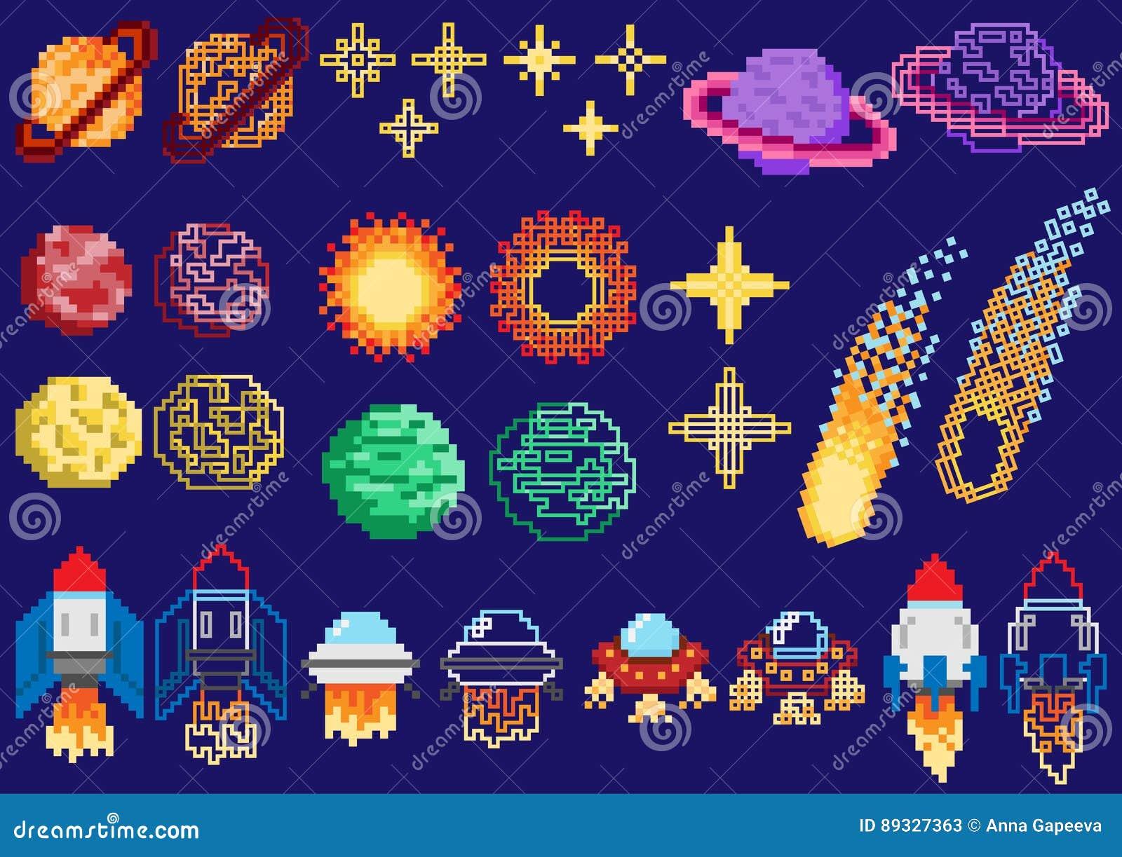Un ensemble de planètes de pixel