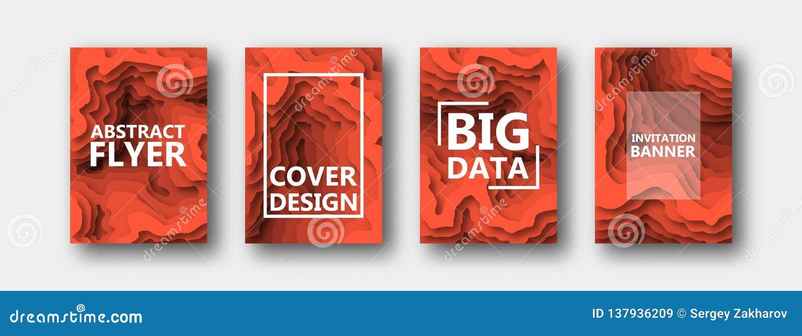 Un ensemble de quatre options pour des bannières, insectes, brochures, cartes, affiches pour votre conception, dans des tons oran