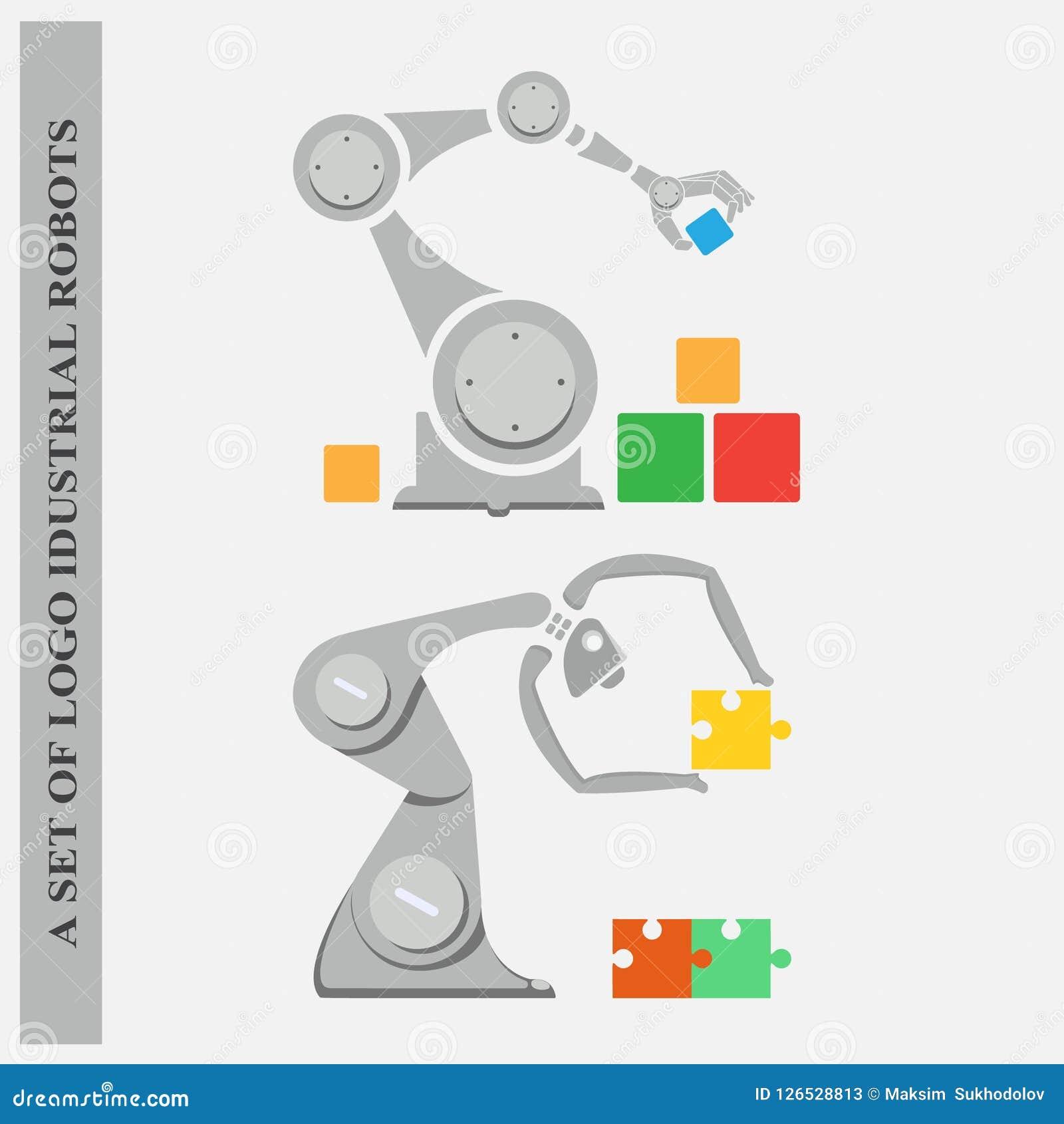Un ensemble de robots industriels de logos sur un fond blanc
