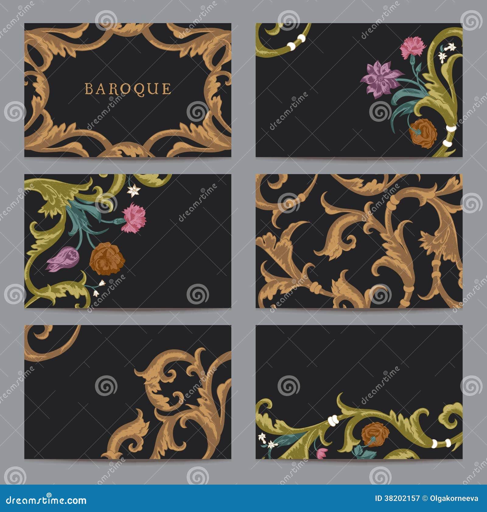 Un Ensemble De Vintage Horizontal Cartes Visite Professionnelle Dans Le Style Baroque
