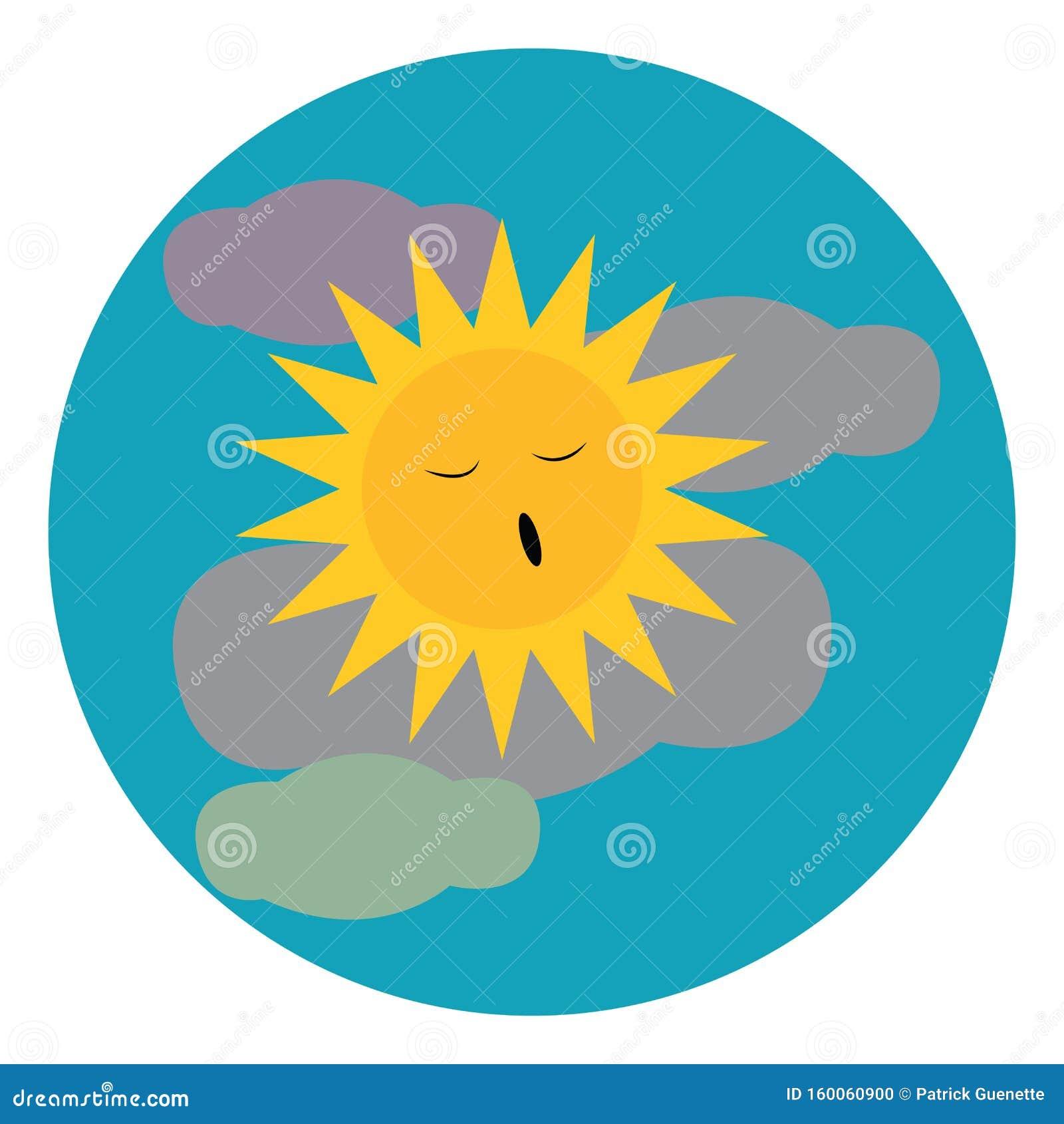 Un Escalón De Un Cielo Nublado Azul Con Dibujo O Ilustración De Color  Vectorial Del Sol Dormido Amarillo Brillante Ilustración del Vector -  Ilustración de cielo, ilustración: 160060900