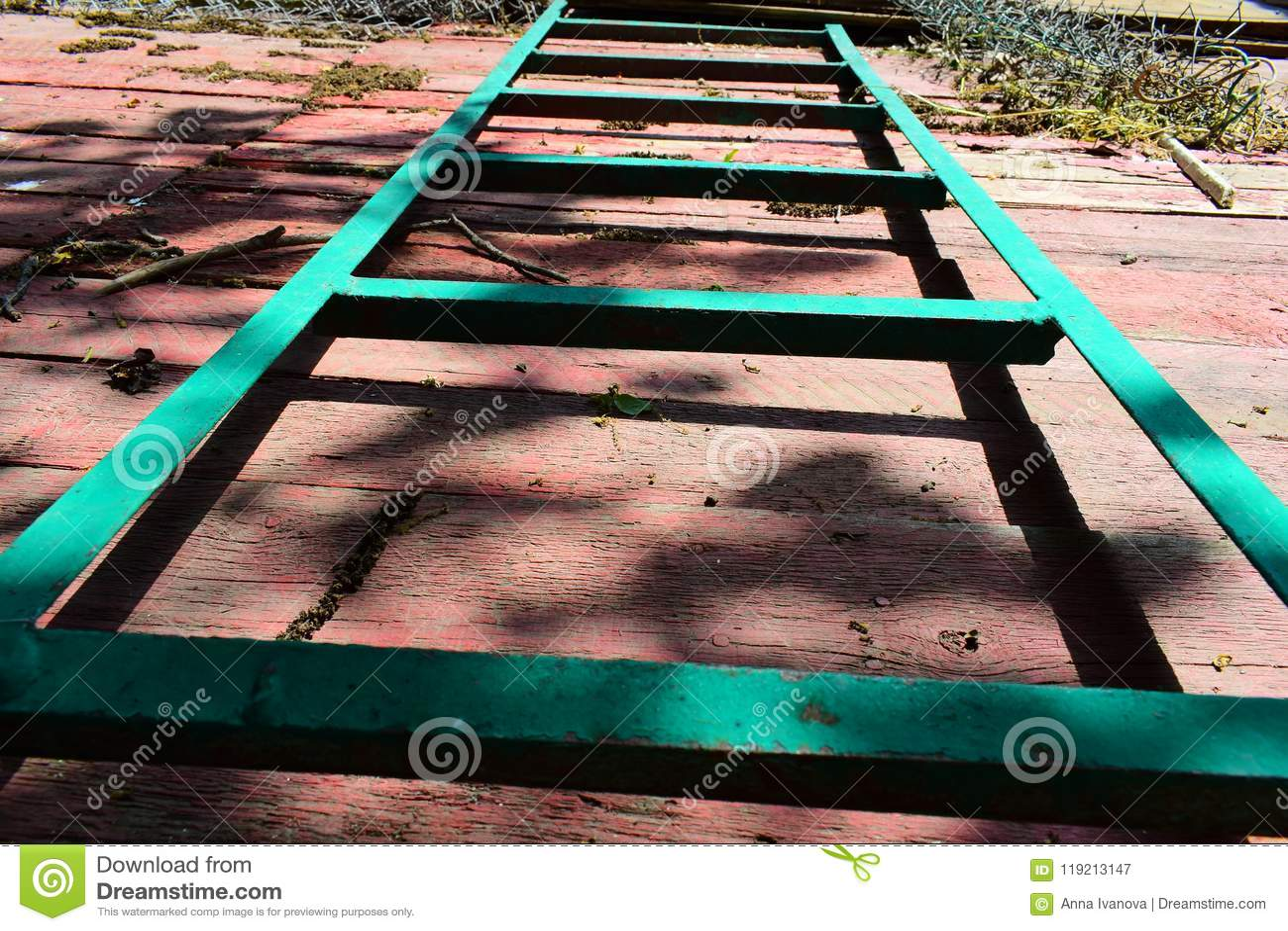 Un Escalier De Jardin De Long Vert Sur Une Palette En Bois Rouge