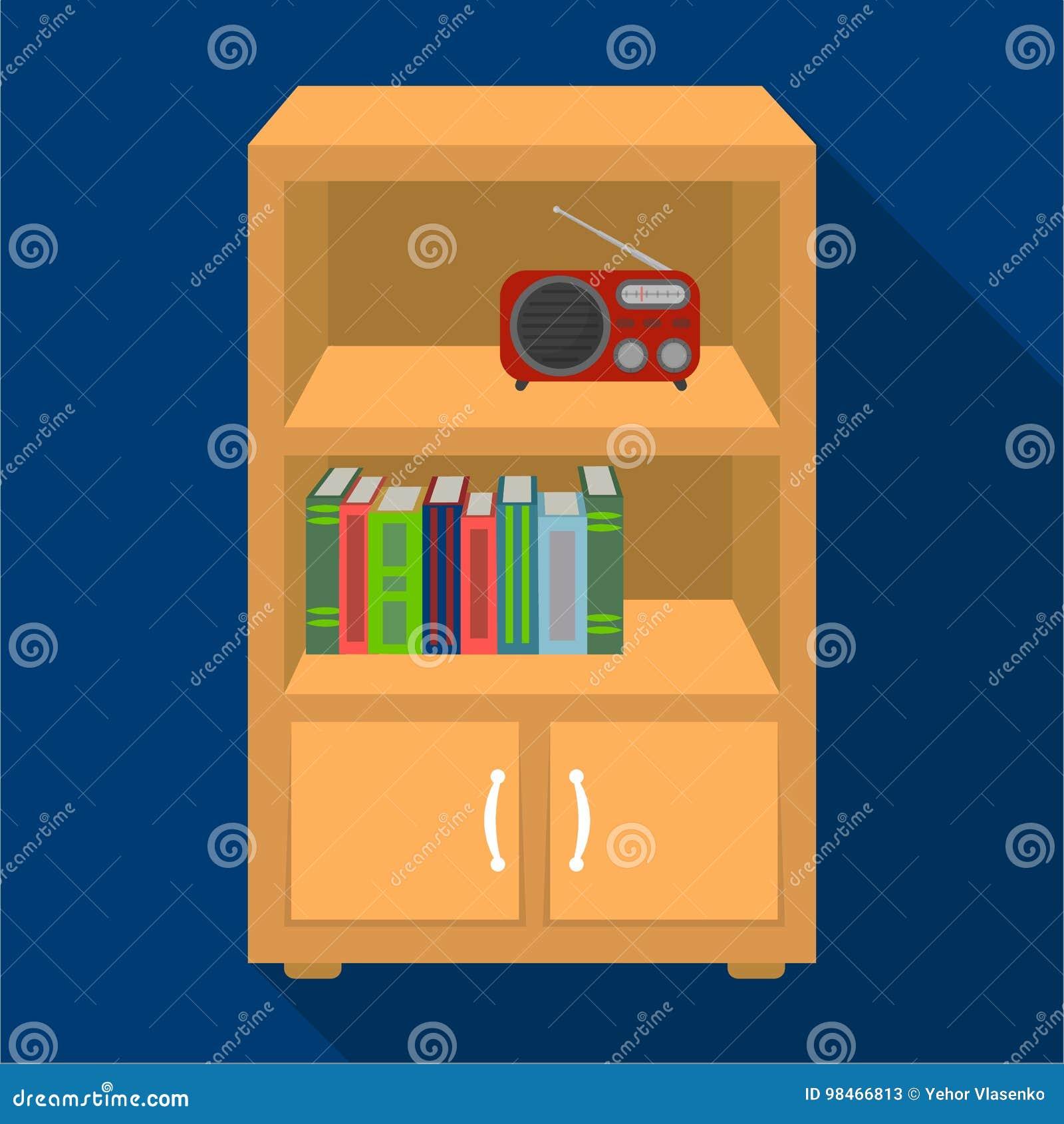 Muebles Estantes Para Libros.Un Estante Para Libros Con Estantes Y Un Receptor De Radio