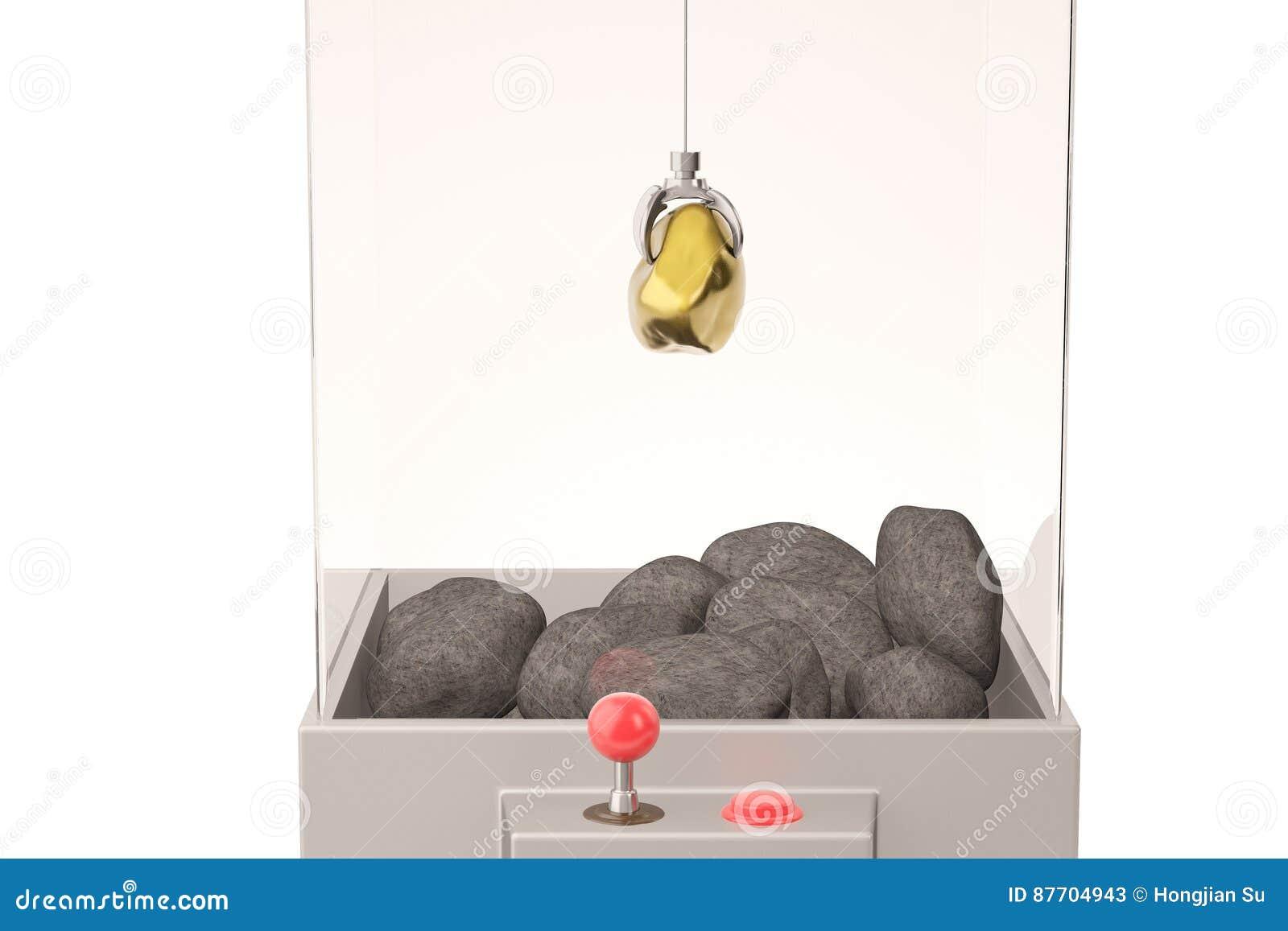 Un or et pierres dans la machine de grue de jouet illustration 3D