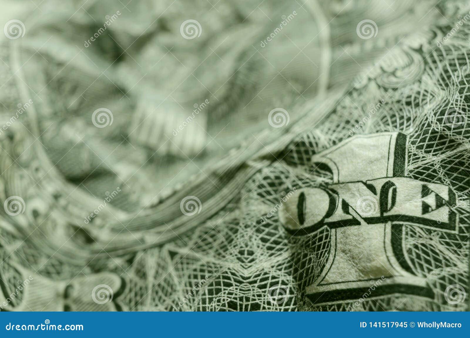 UN et 1 sur le billet d un dollar américain délogé